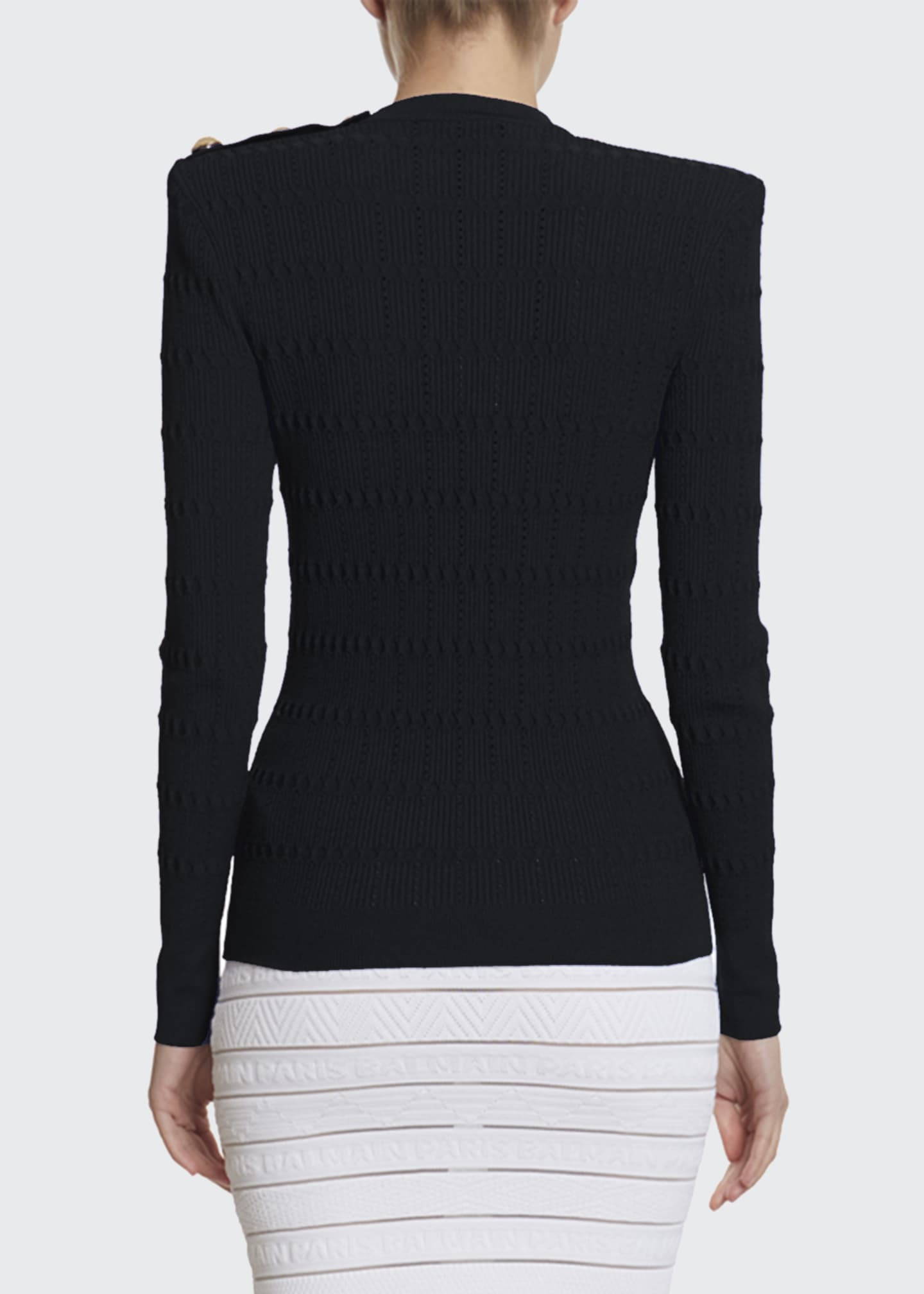 Image 2 of 2: Structured Should Open Knit Sweater
