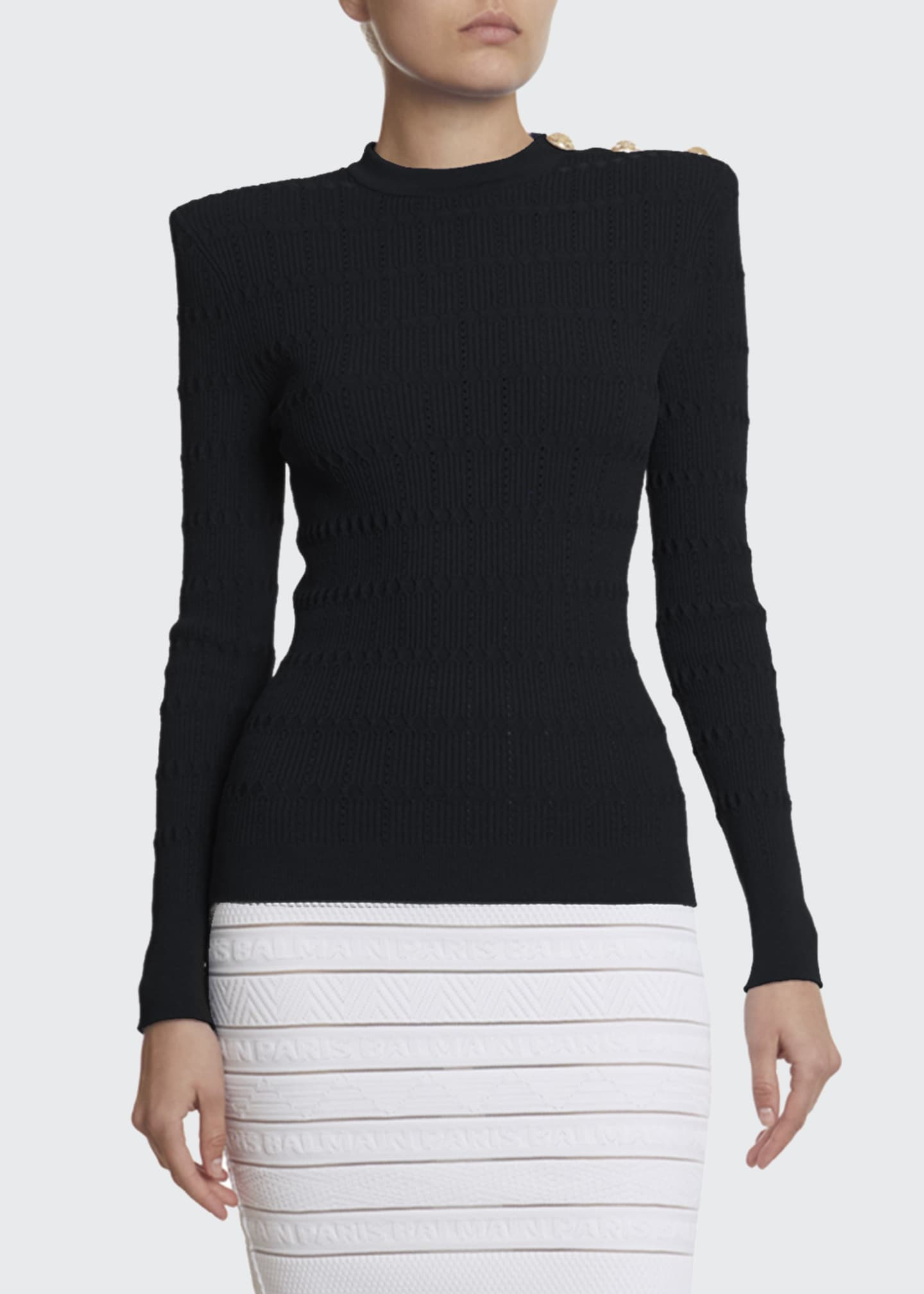 Image 1 of 2: Structured Should Open Knit Sweater