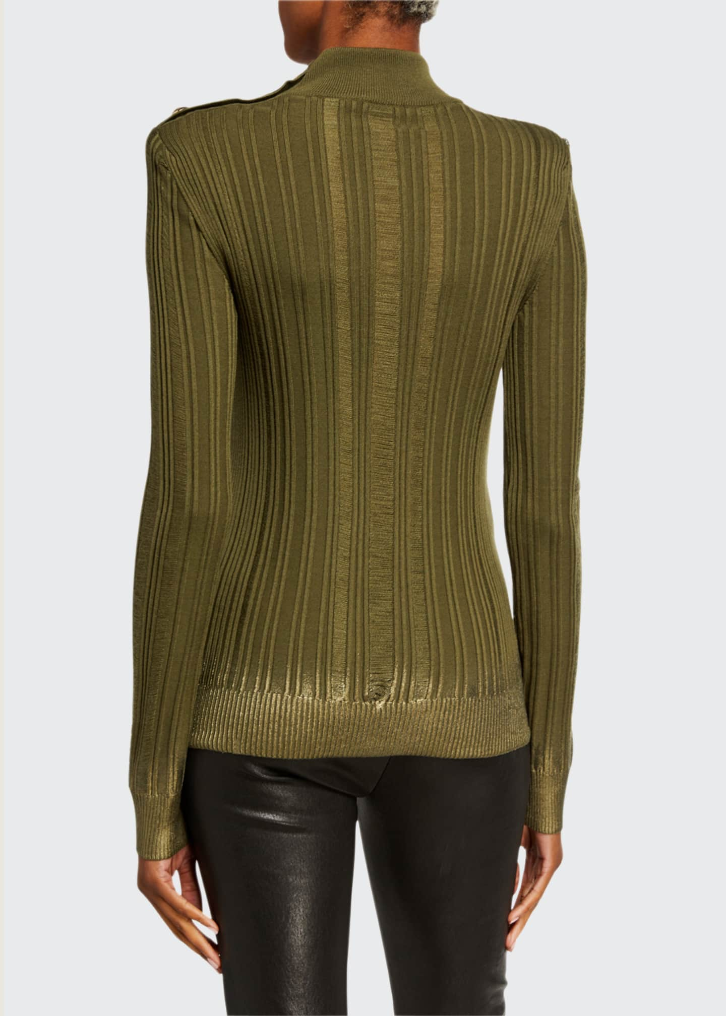 Image 2 of 3: Metallic Degrade Mock-Neck Sweater