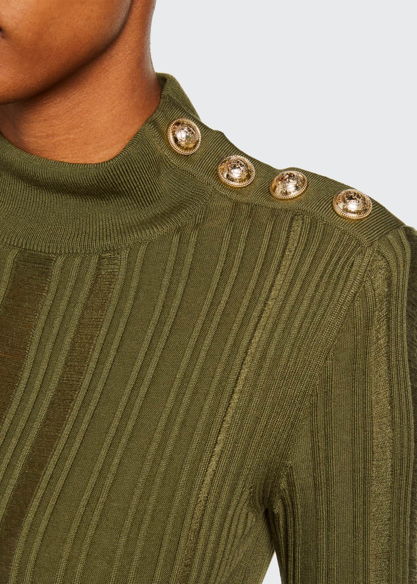 Image 3 of 3: Metallic Degrade Mock-Neck Sweater