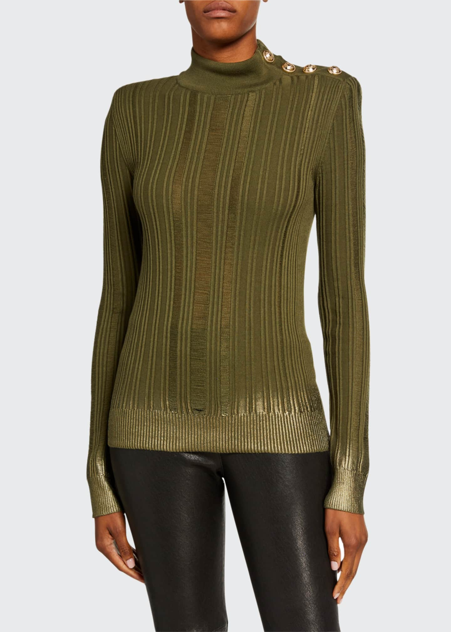Image 1 of 3: Metallic Degrade Mock-Neck Sweater