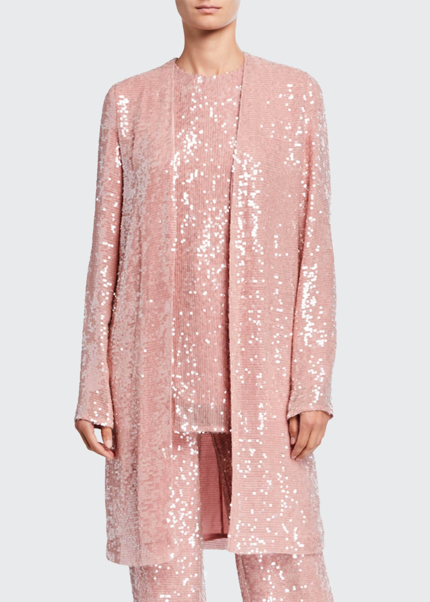 Image 1 of 1: Sequined Jersey Duster Jacket, Pink