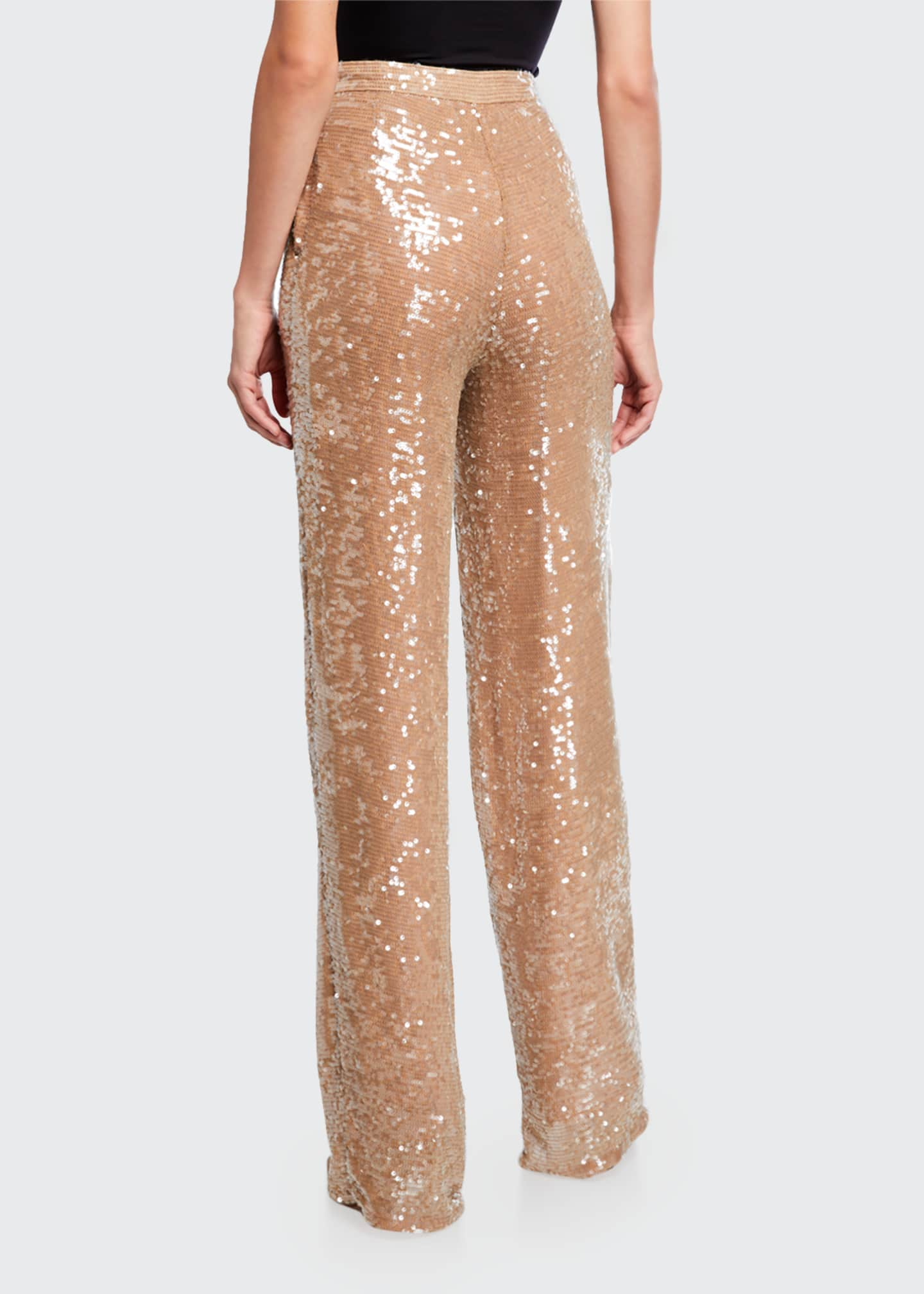 Image 2 of 3: Sequined Jersey High-Rise Trousers