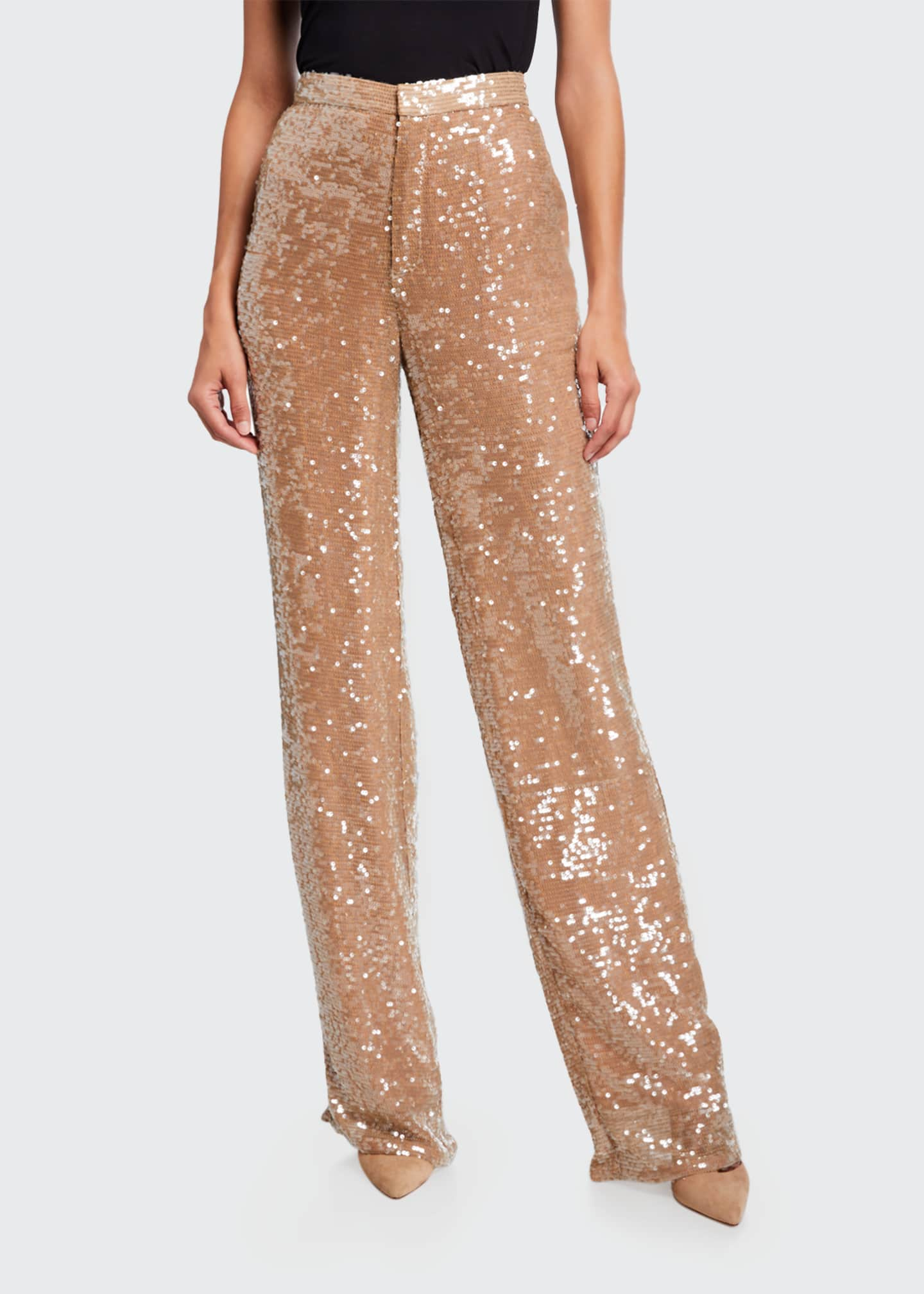 Image 3 of 3: Sequined Jersey High-Rise Trousers