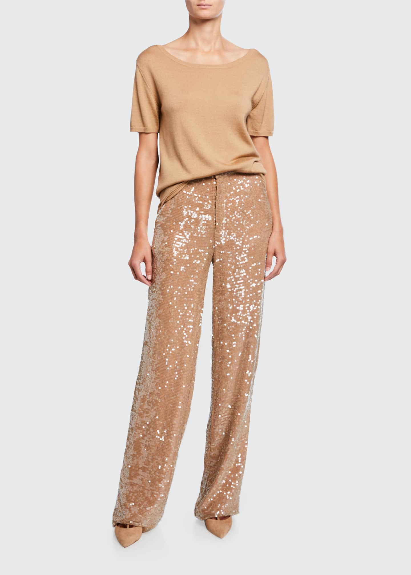 Image 1 of 3: Sequined Jersey High-Rise Trousers