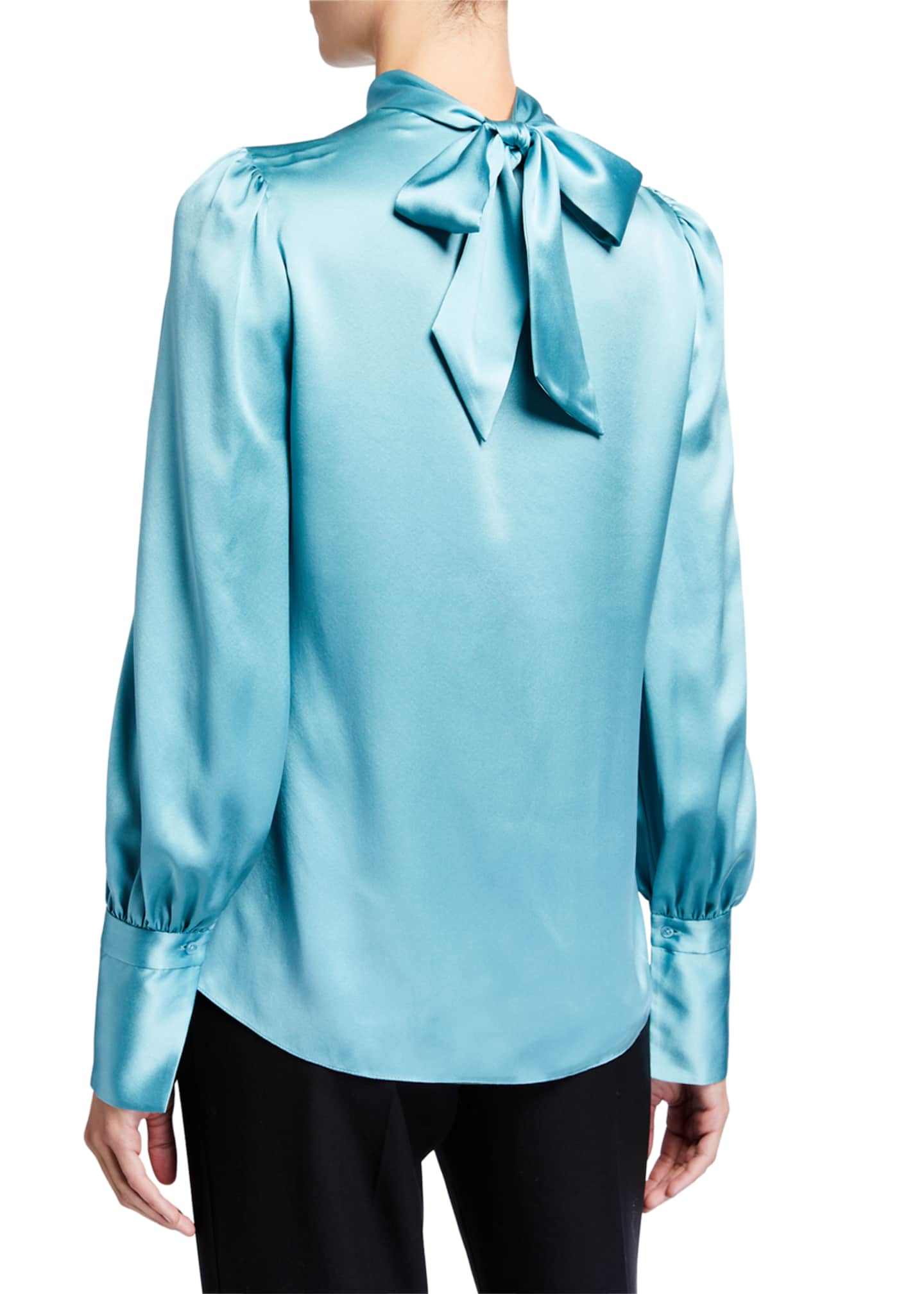 Image 2 of 2: Bali Long-Sleeve Twist-Neck Silk Shirt