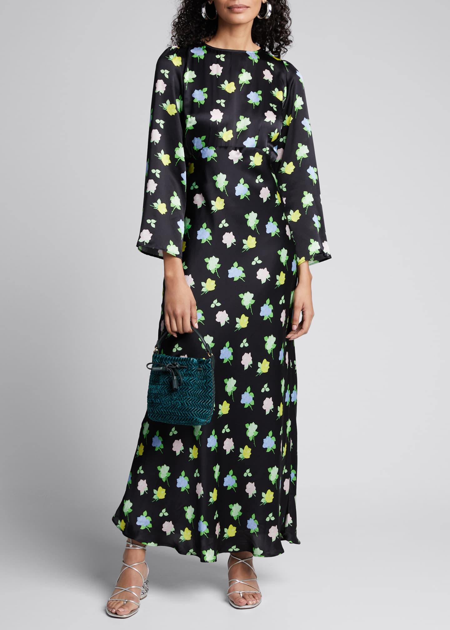 BERNADETTE Rose-Print Long-Sleeve Satin Maxi Dress