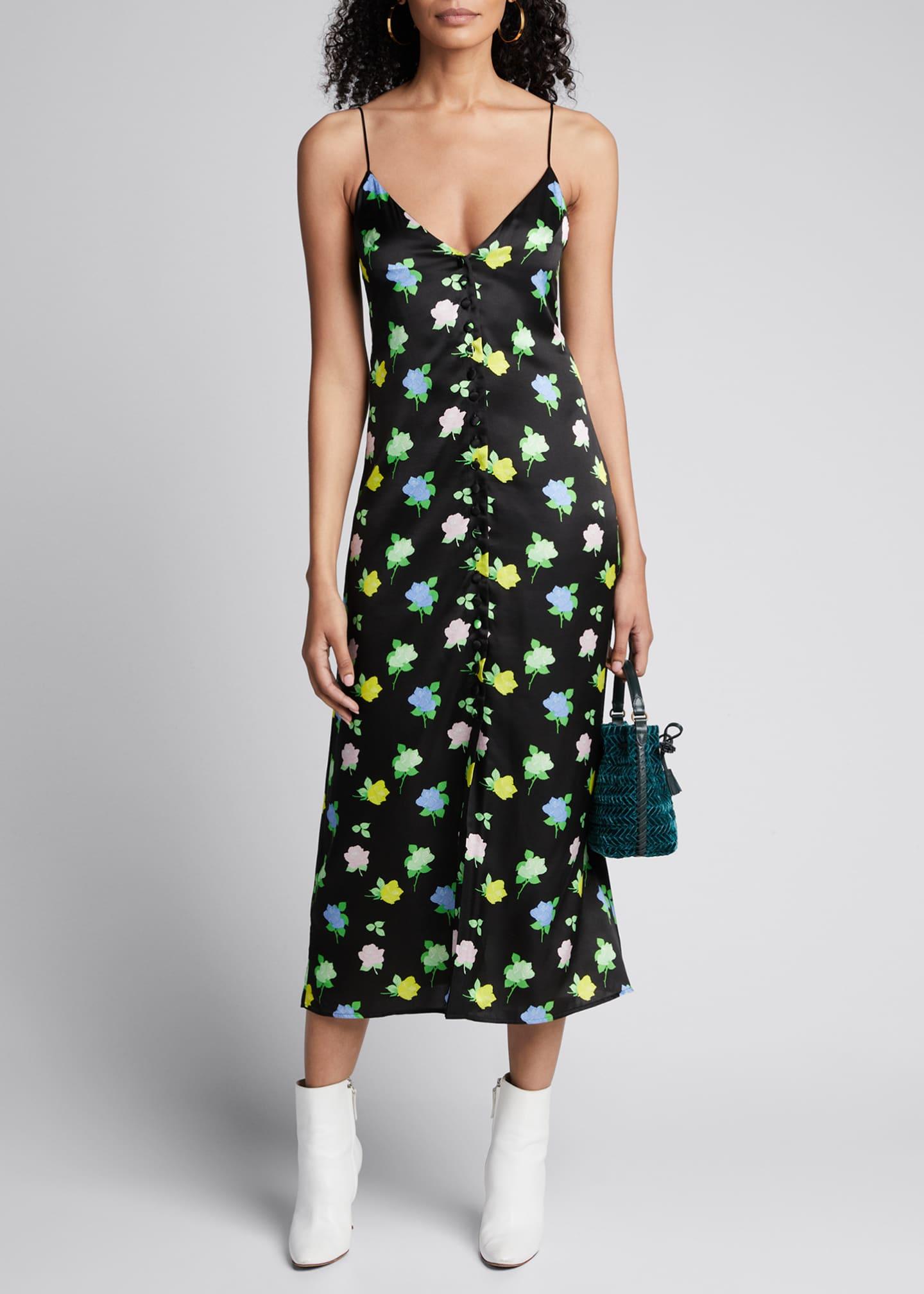 BERNADETTE Hailey Mini Rose-Print Satin Button-Front Slip Dress