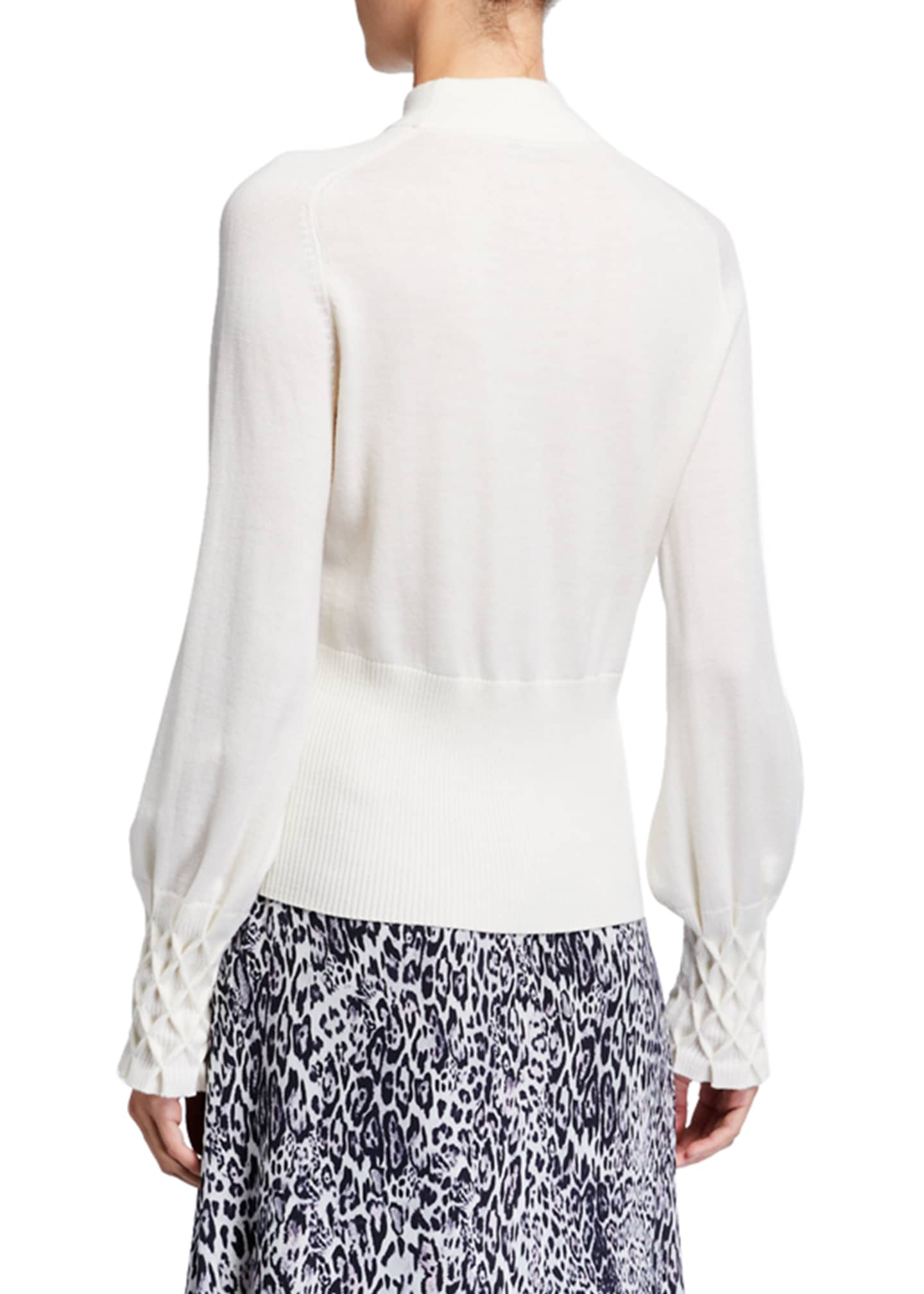 Image 2 of 2: Skylar Mock-Neck Textured Cuff Merino Wool Sweater