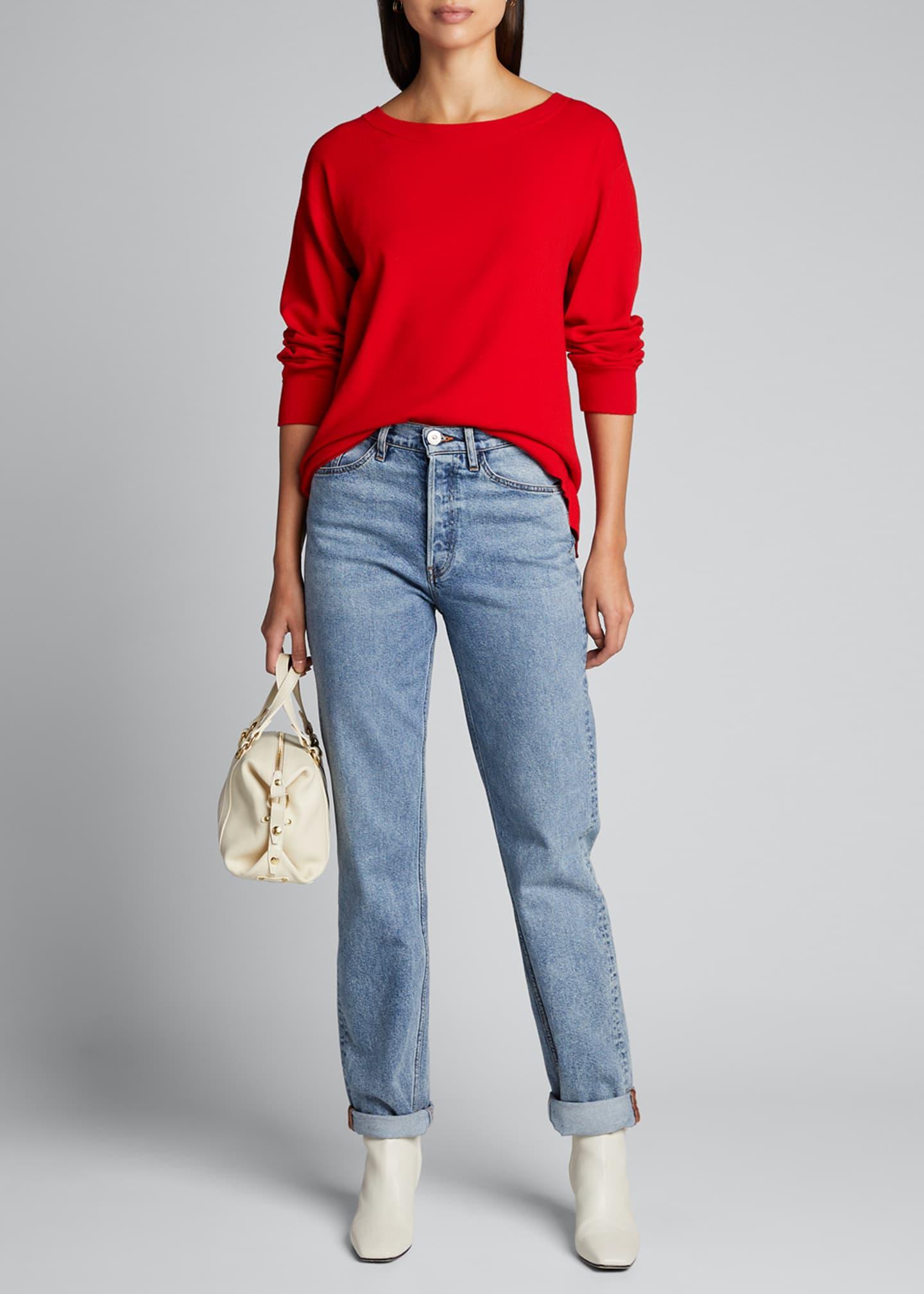 Alice + Olivia Ruela Split-Back Sweater with Hardware