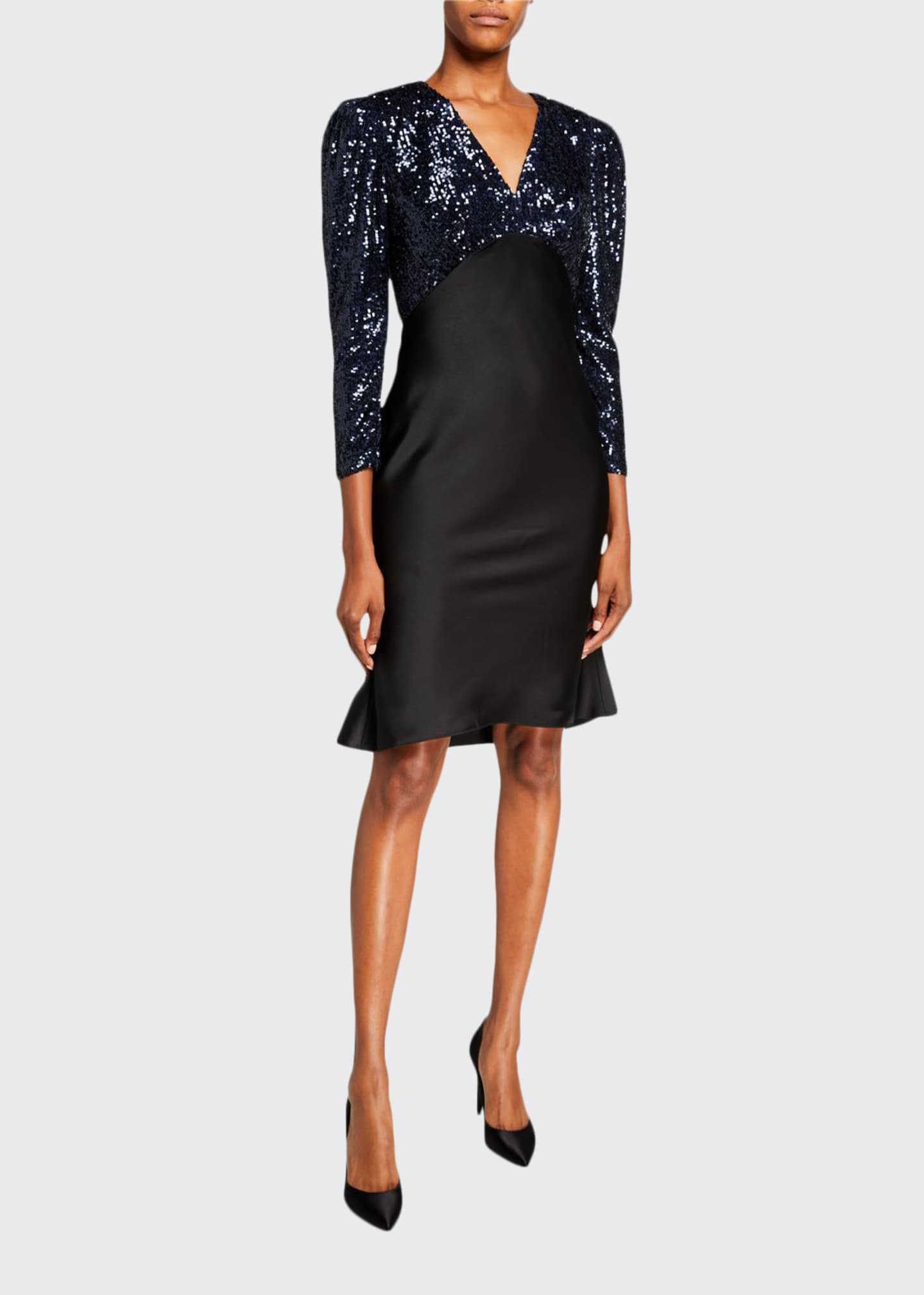 Sachin & Babi Louisa Sequin Bodice V-Neck Mutton