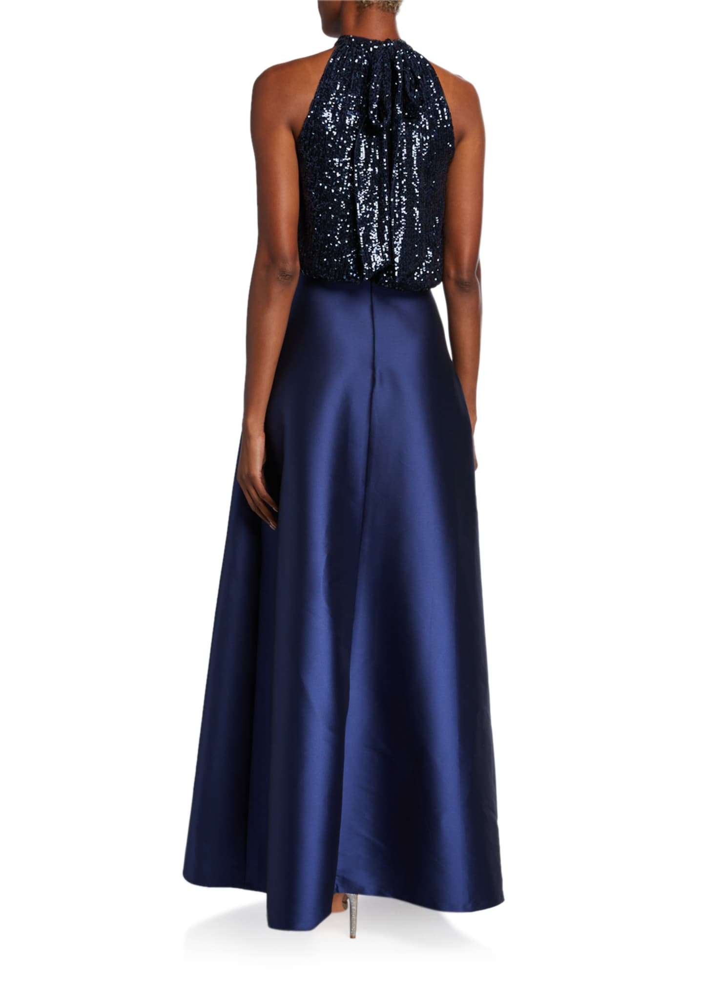 Image 2 of 2: Patricia Sequin Halter-Neck Ball Gown