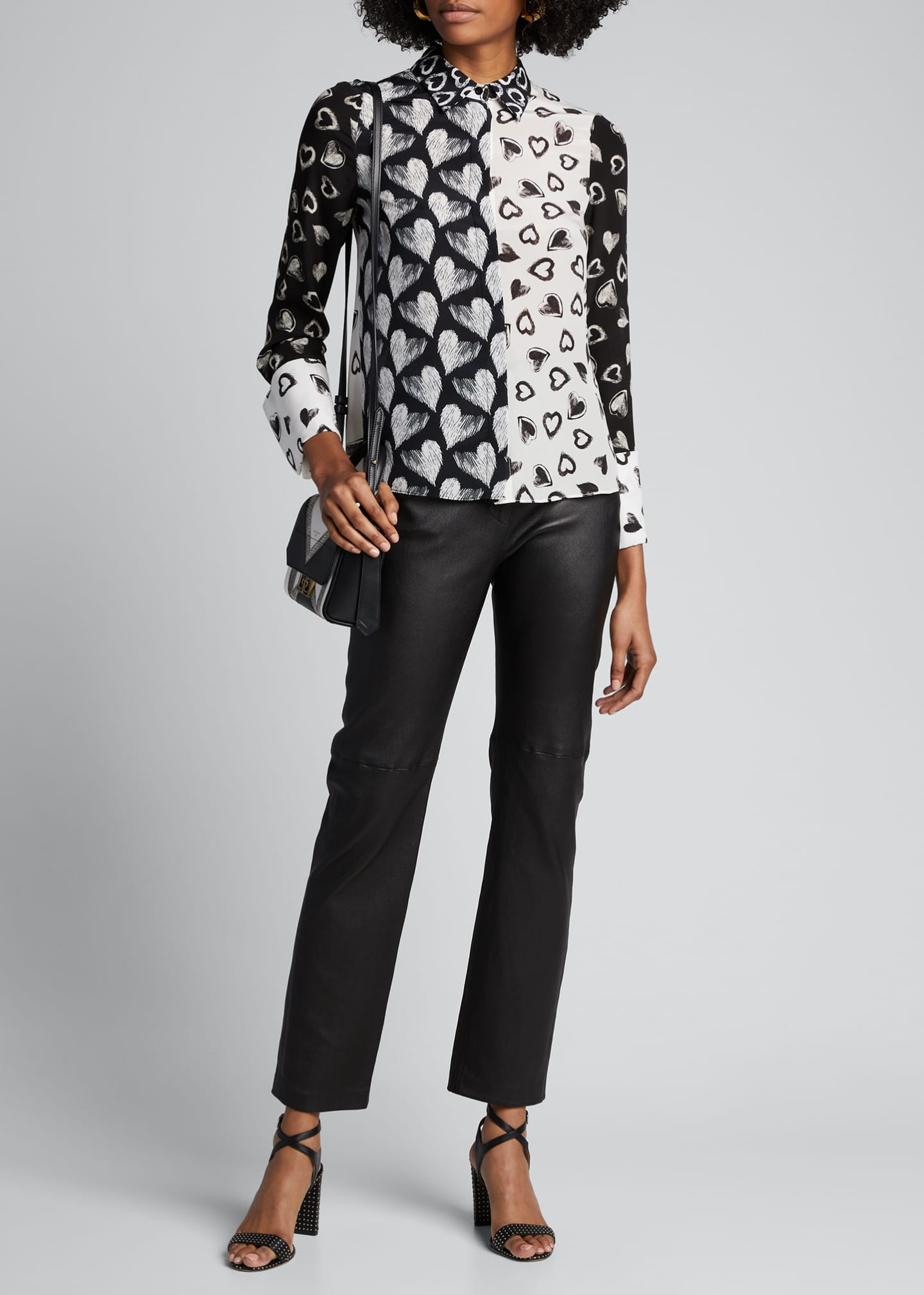 Alice + Olivia Willa Heart-Print Placket Top w/