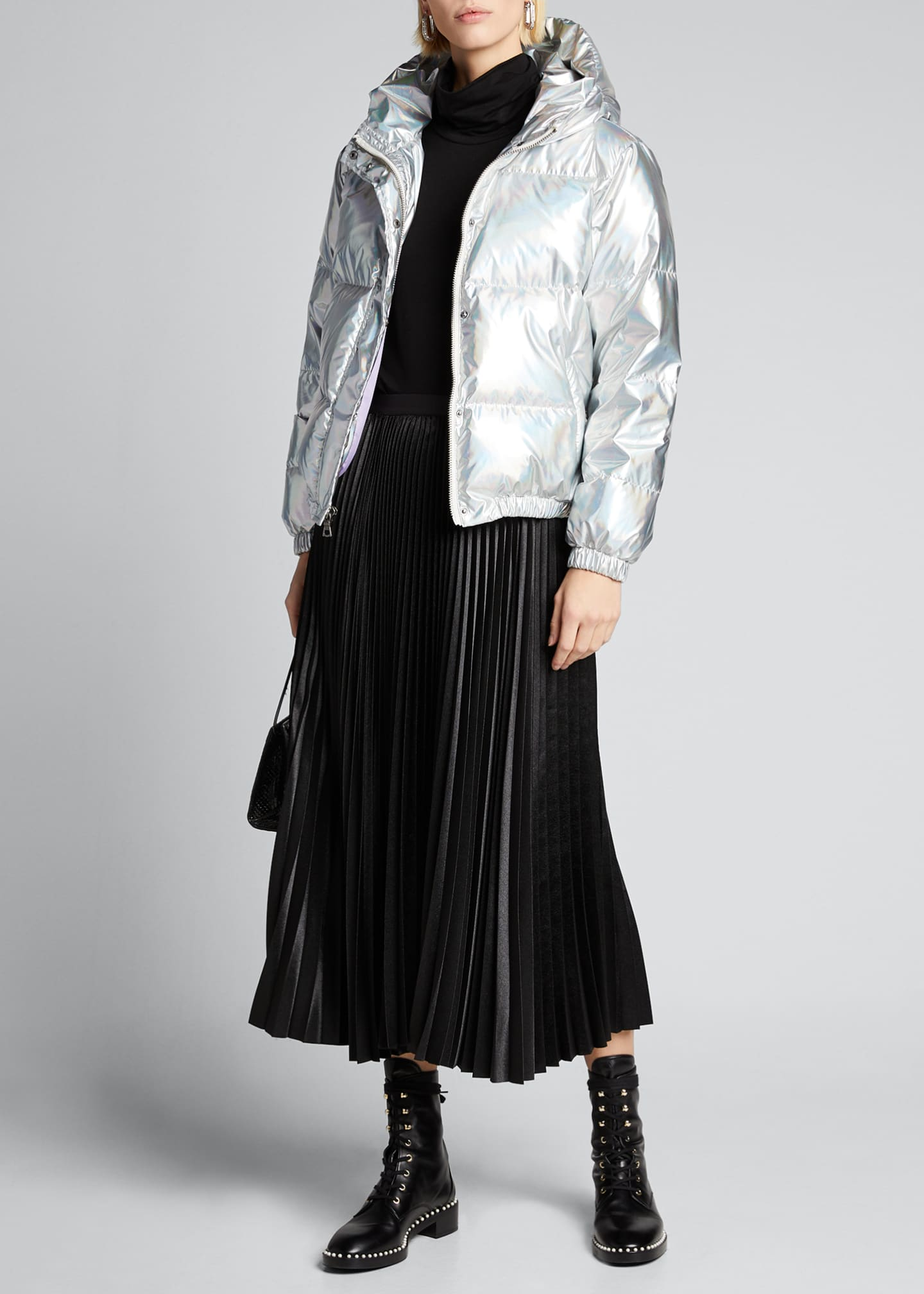 Alice + Olivia Durham Metallic Hooded Puffer Jacket