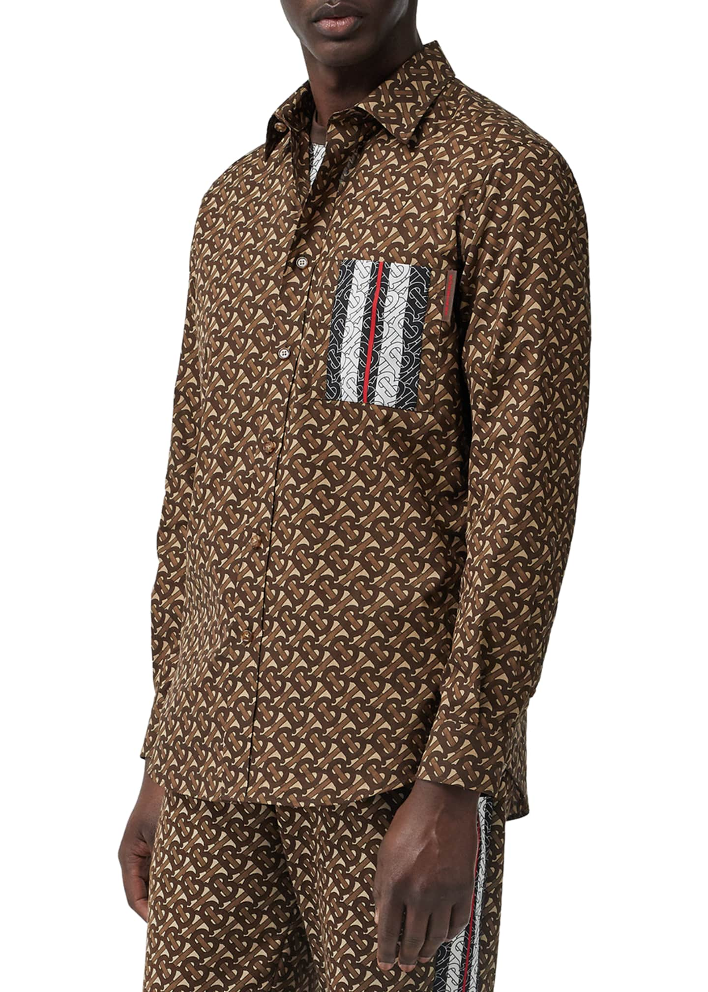 Image 3 of 5: Men's Chatham TB-Monogram Icon Stripe Sport Shirt