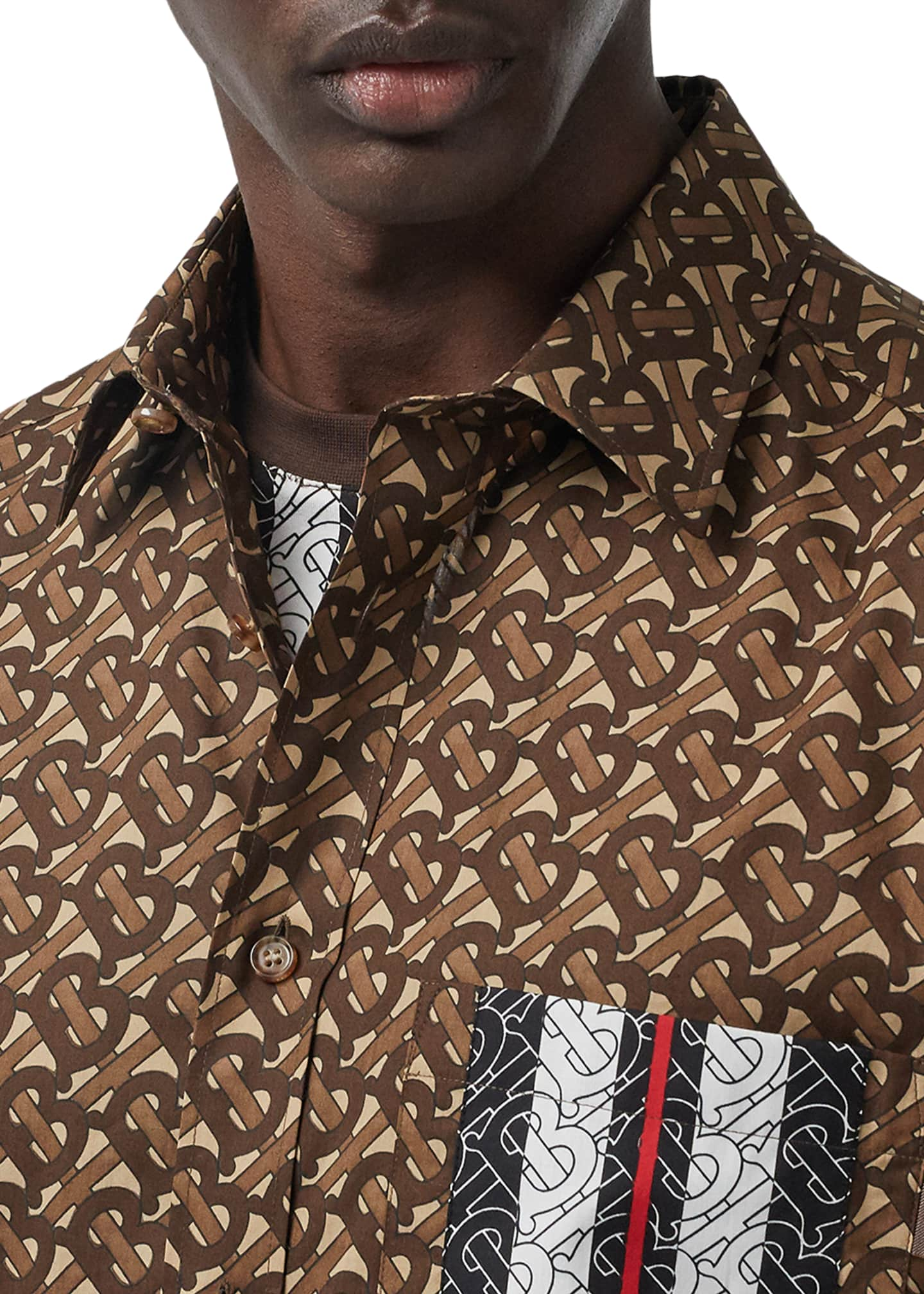 Image 5 of 5: Men's Chatham TB-Monogram Icon Stripe Sport Shirt