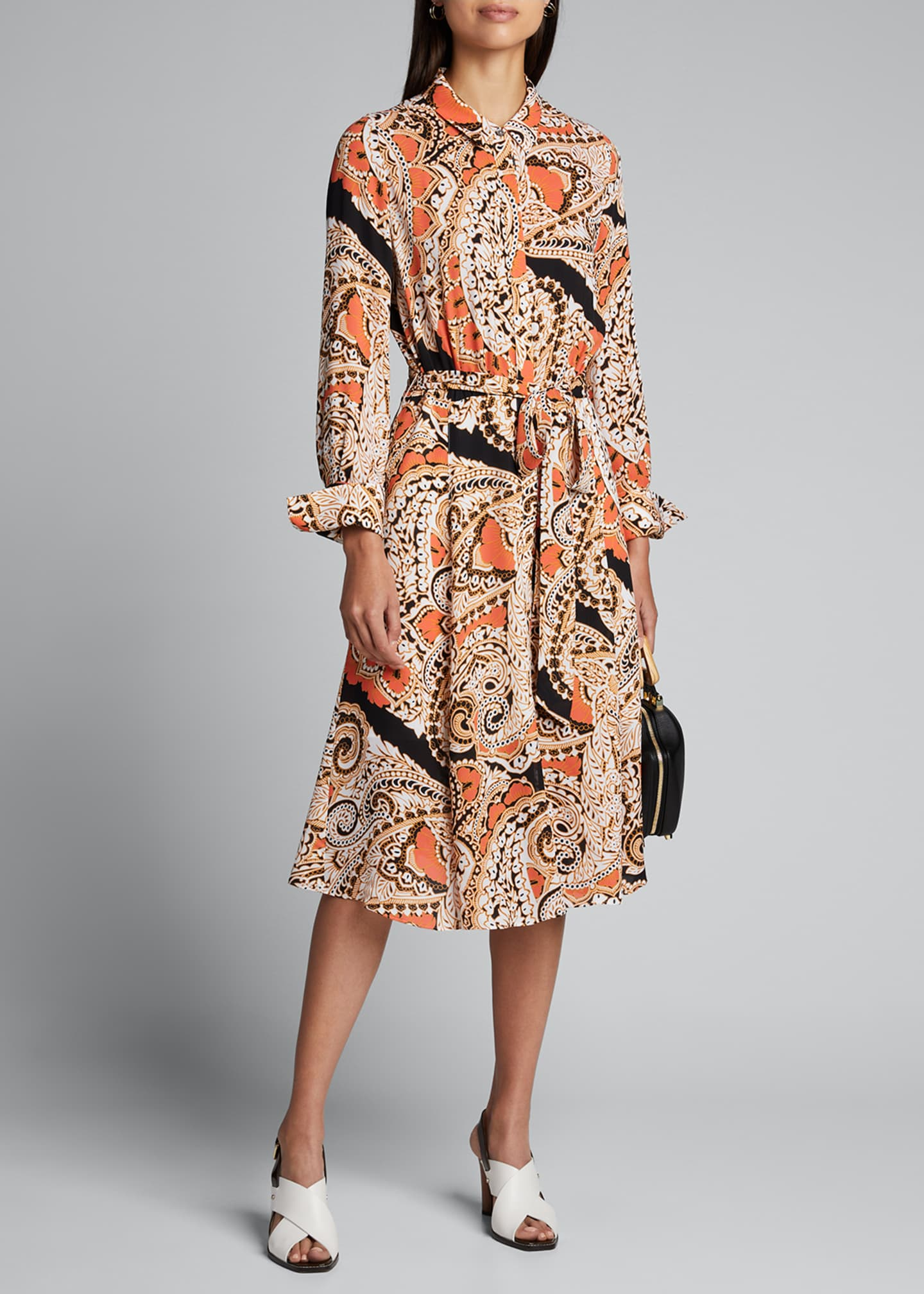 Kobi Halperin Madi Paisley Long-Sleeve Midi Dress