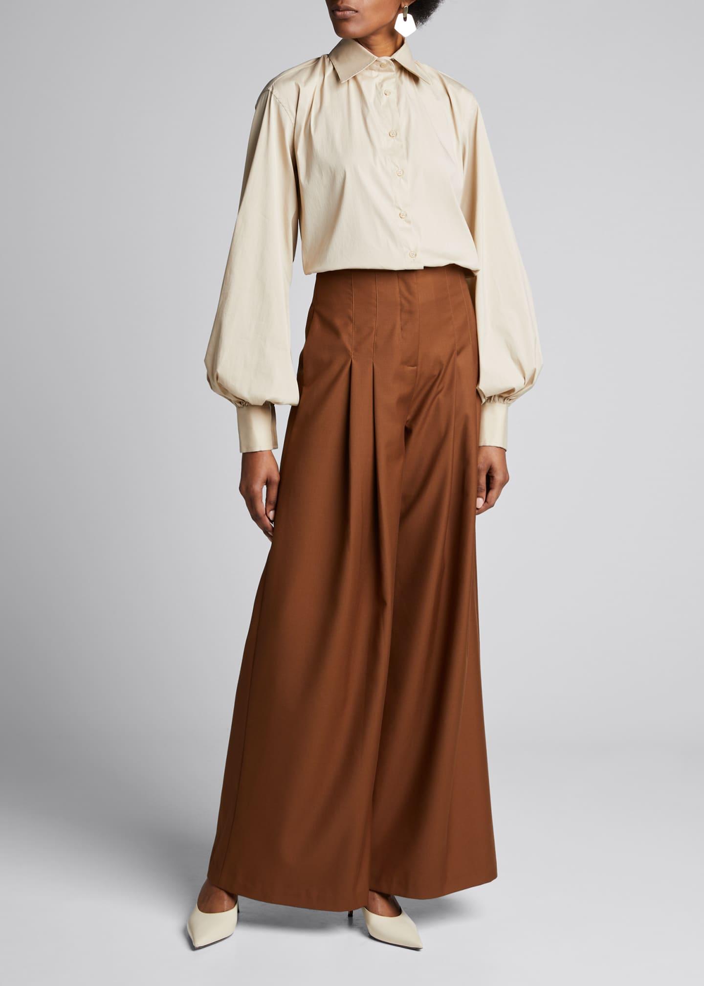 Anna Quan Castiglia Blouson-Sleeve Boxy Shirt