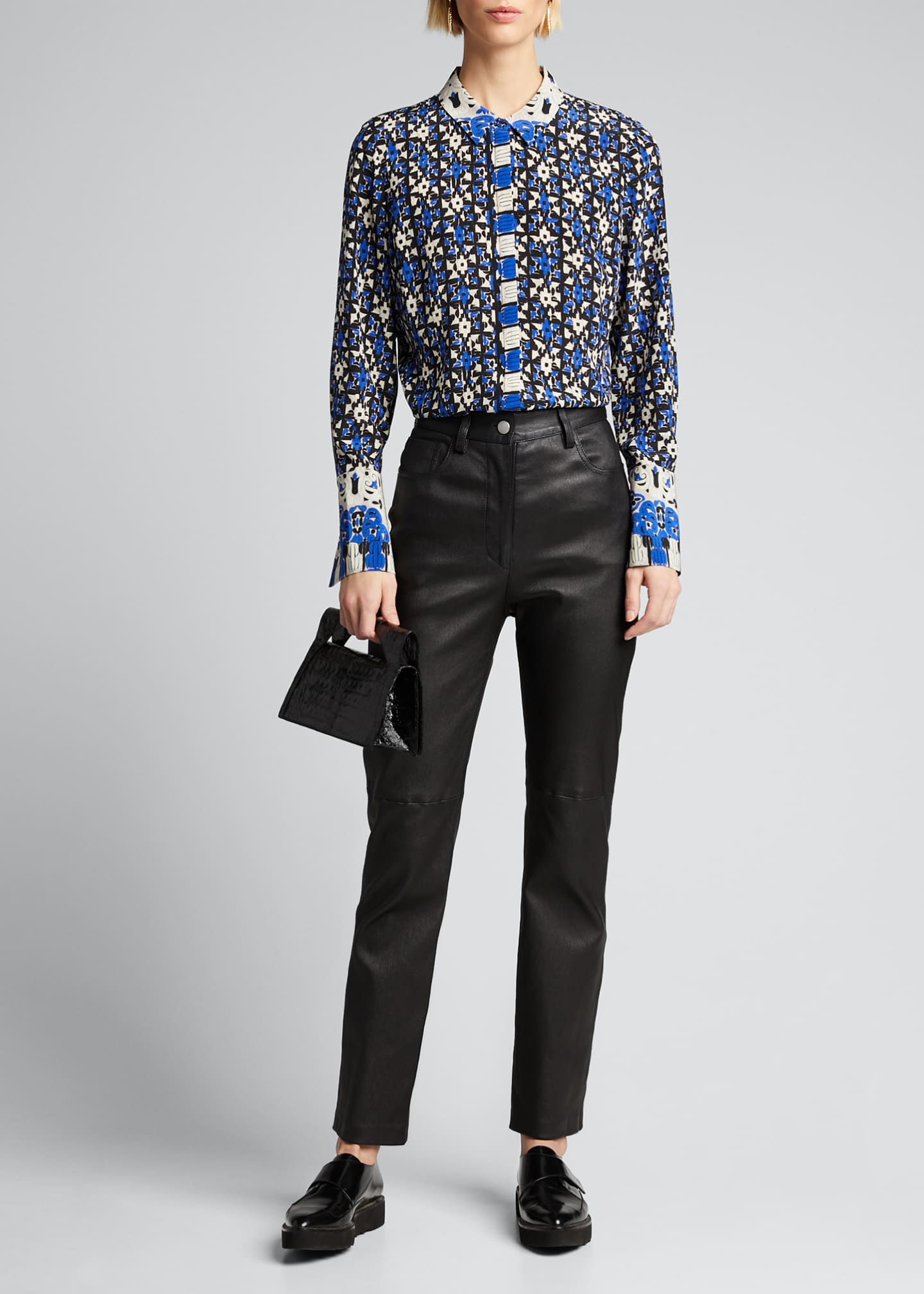 Kobi Halperin Marla Printed Button-Down Silk Blouse