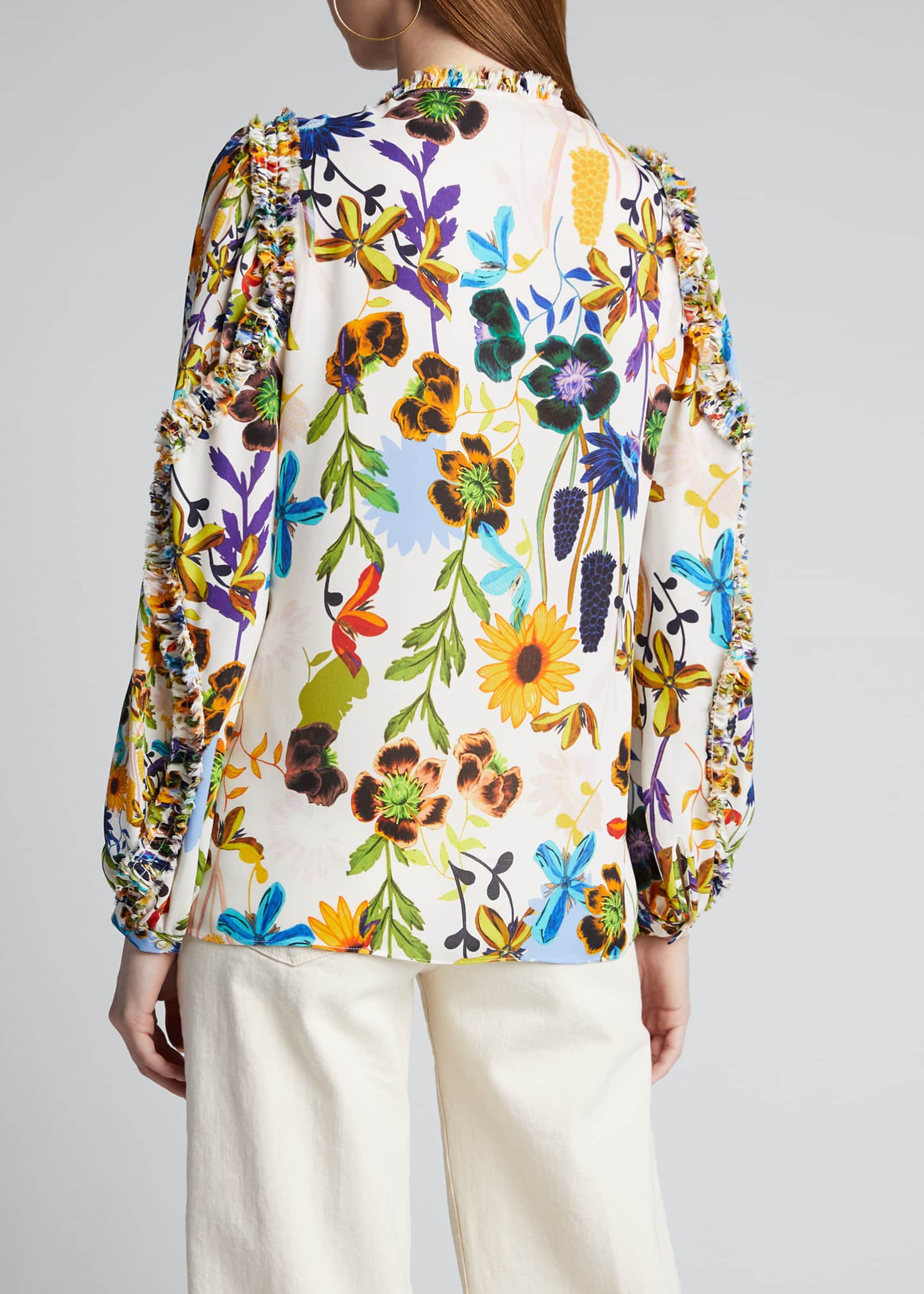 Image 2 of 5: Merlyn Floral Tie-Neck Keyhole Blouse