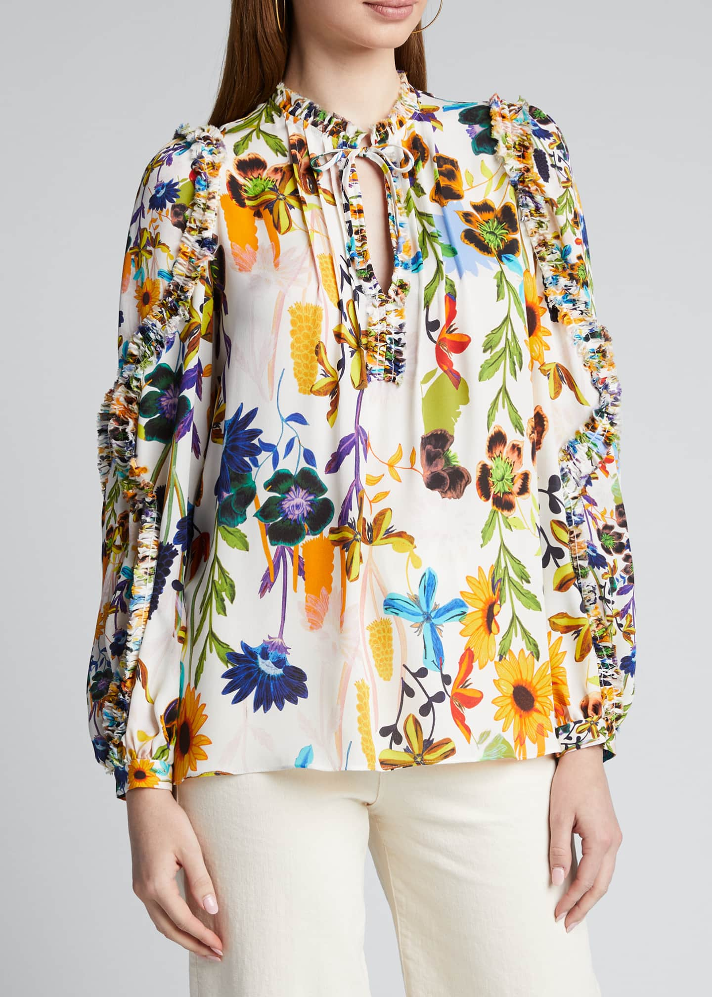 Image 3 of 5: Merlyn Floral Tie-Neck Keyhole Blouse