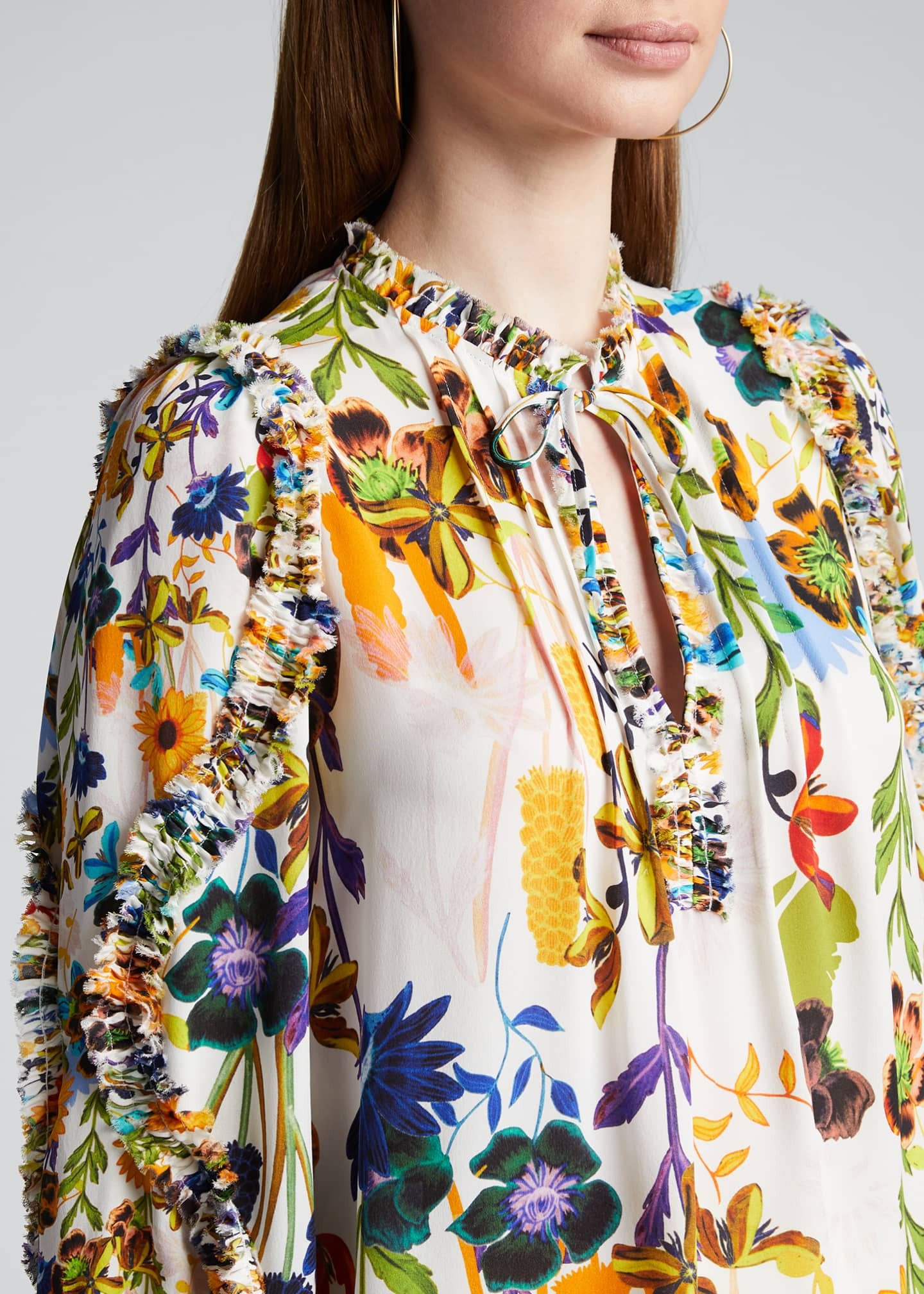 Image 4 of 5: Merlyn Floral Tie-Neck Keyhole Blouse