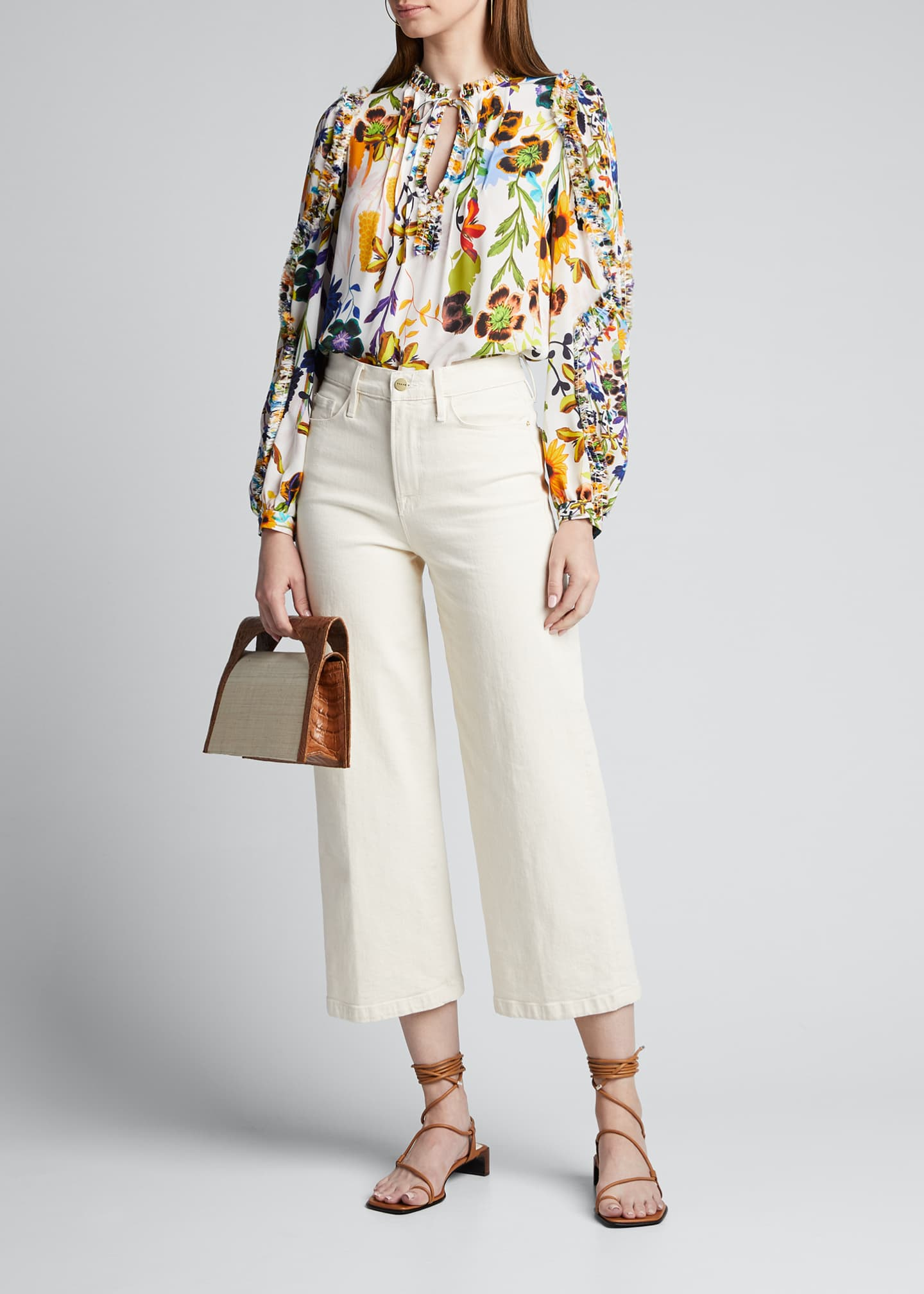 Image 1 of 5: Merlyn Floral Tie-Neck Keyhole Blouse
