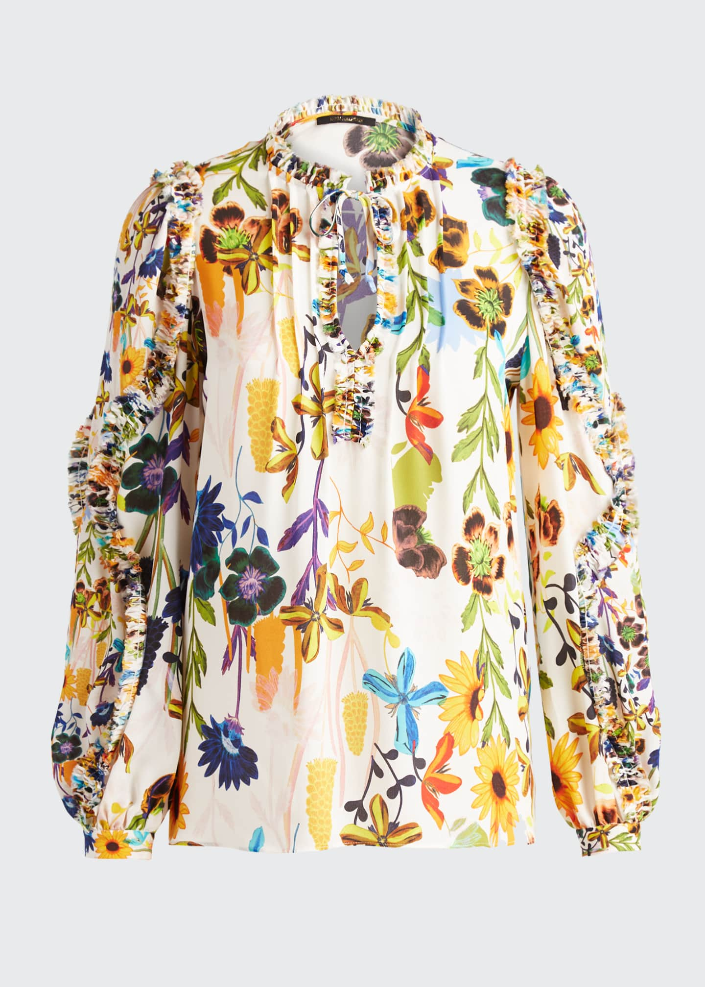Image 5 of 5: Merlyn Floral Tie-Neck Keyhole Blouse