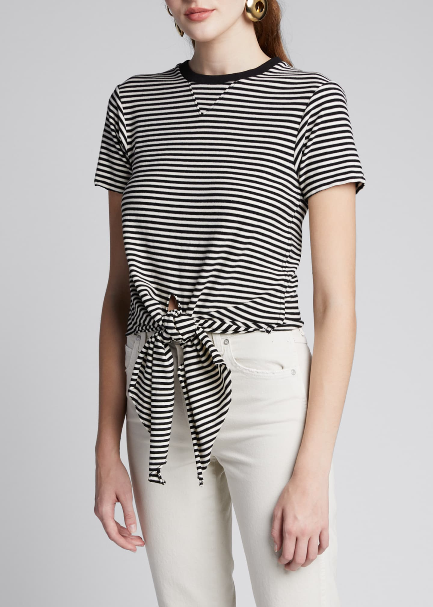 Image 3 of 5: The Waist Striped Tie-Front Tee