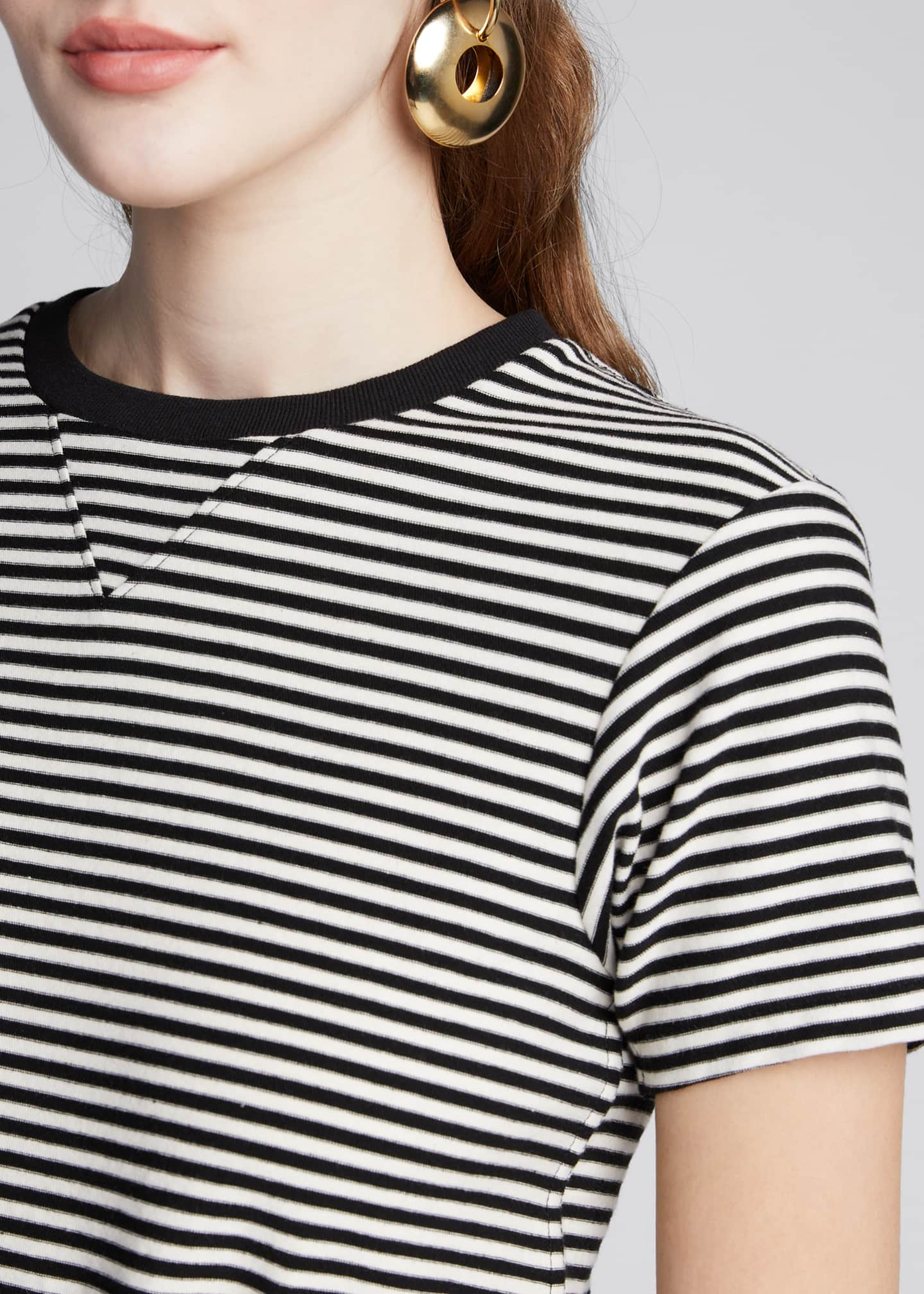 Image 4 of 5: The Waist Striped Tie-Front Tee