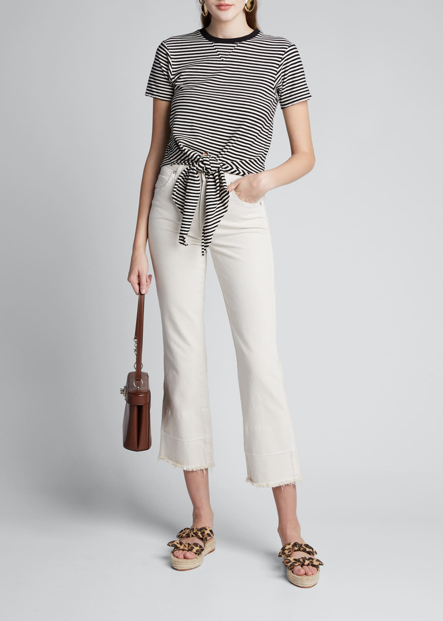 Image 1 of 5: The Waist Striped Tie-Front Tee