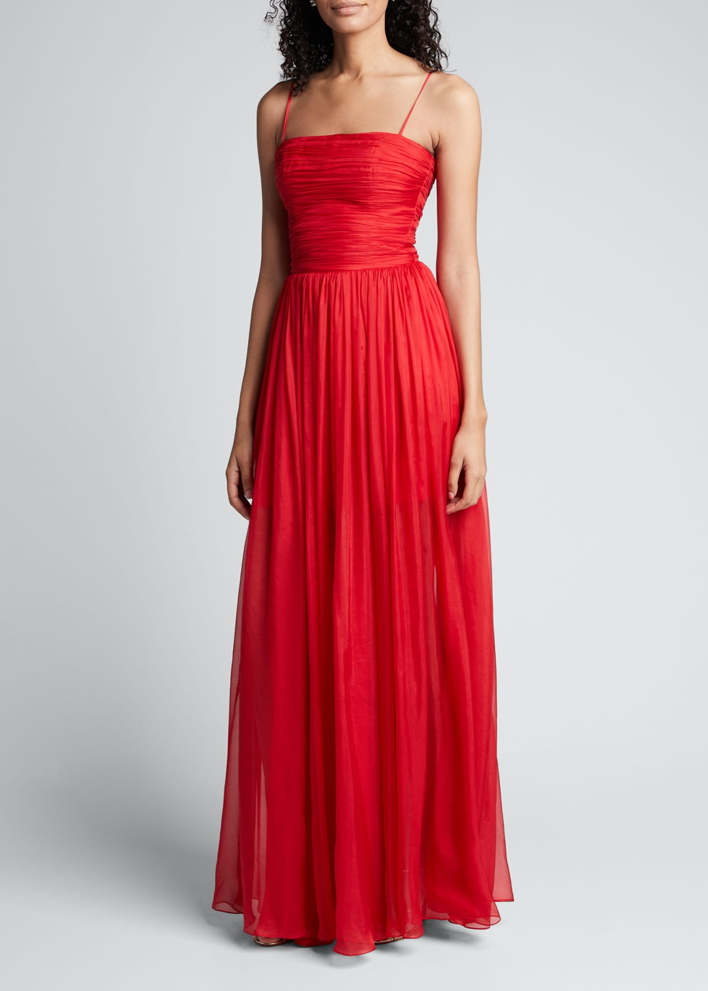 Image 3 of 5: Chiffon Strapless Draped Gown