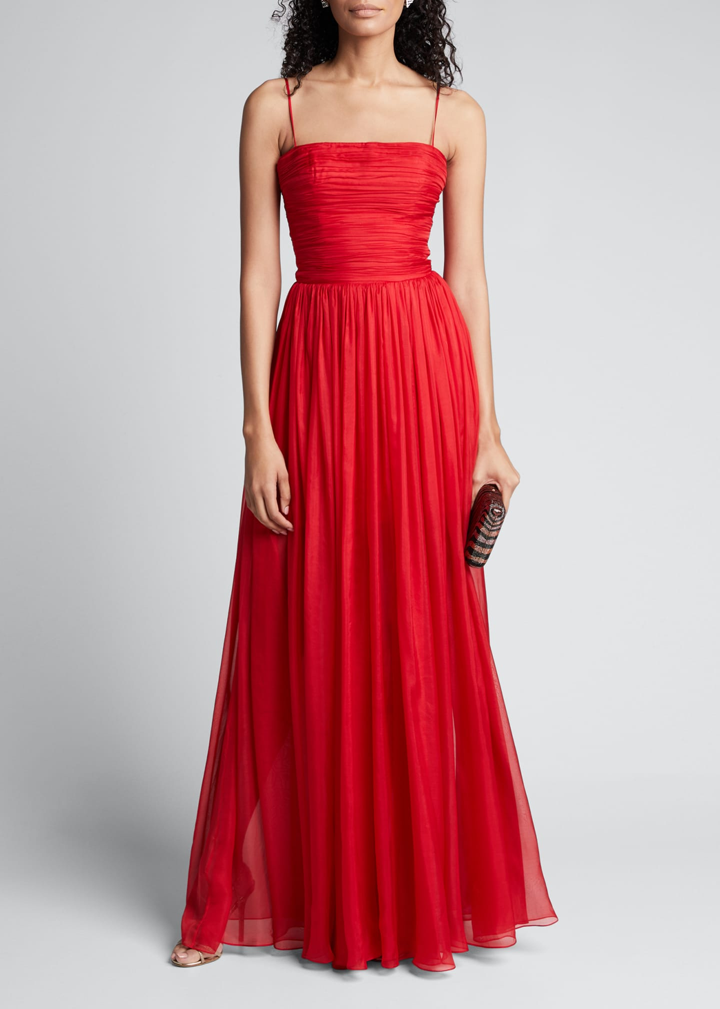 Image 1 of 5: Chiffon Strapless Draped Gown