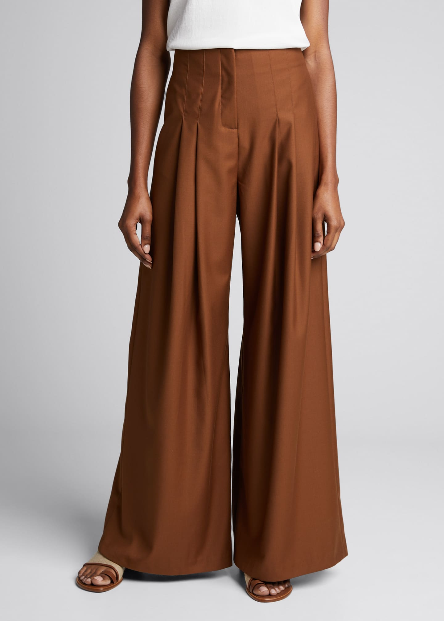 Image 3 of 5: Marcel Pleated Wide-Leg Pants