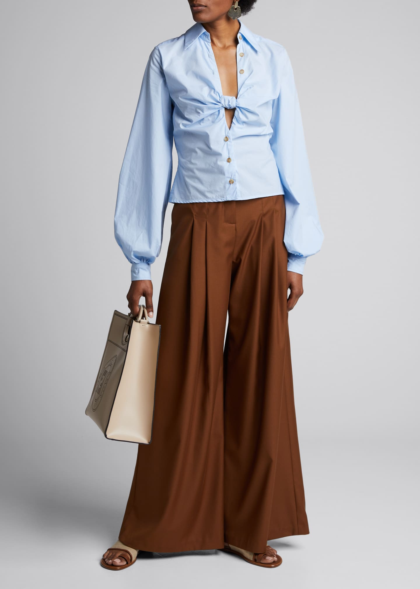 Image 1 of 5: Marcel Pleated Wide-Leg Pants