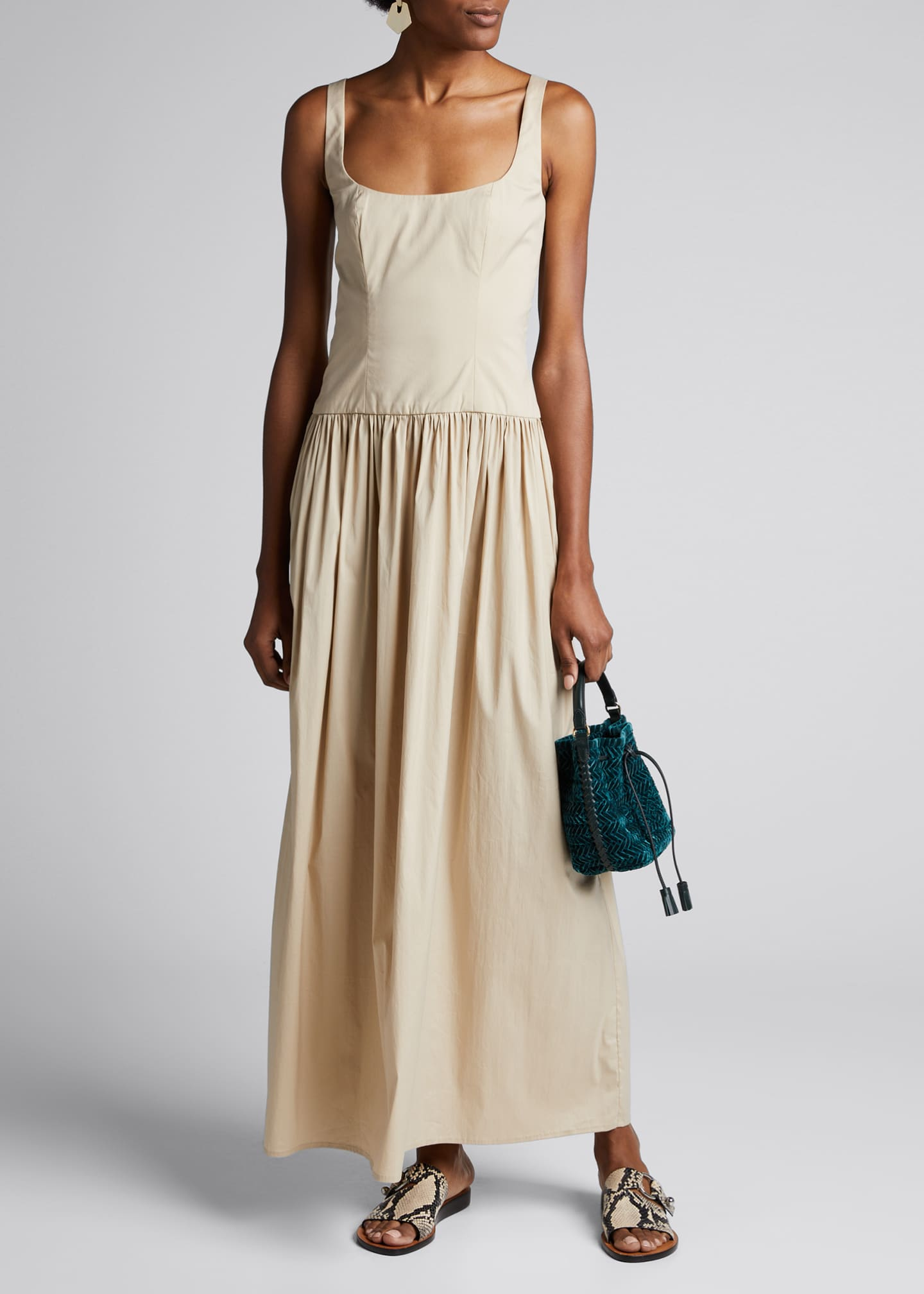 Anna Quan Gisele Square-Neck Stretch Cotton Long Dress