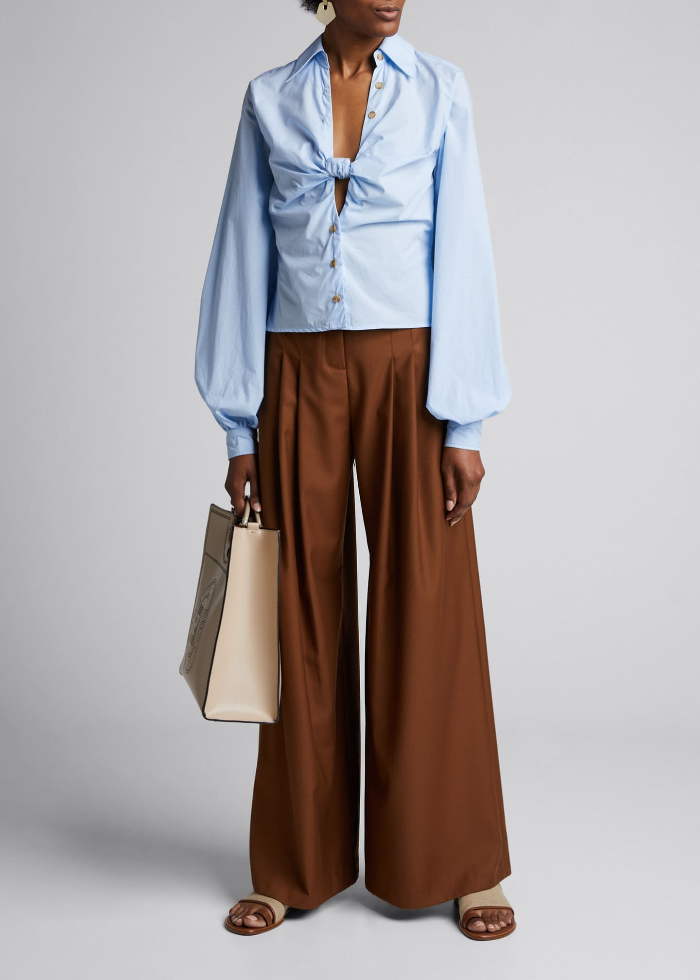 Anna Quan Spencer Knotted Blouson-Sleeve Cotton Blouse