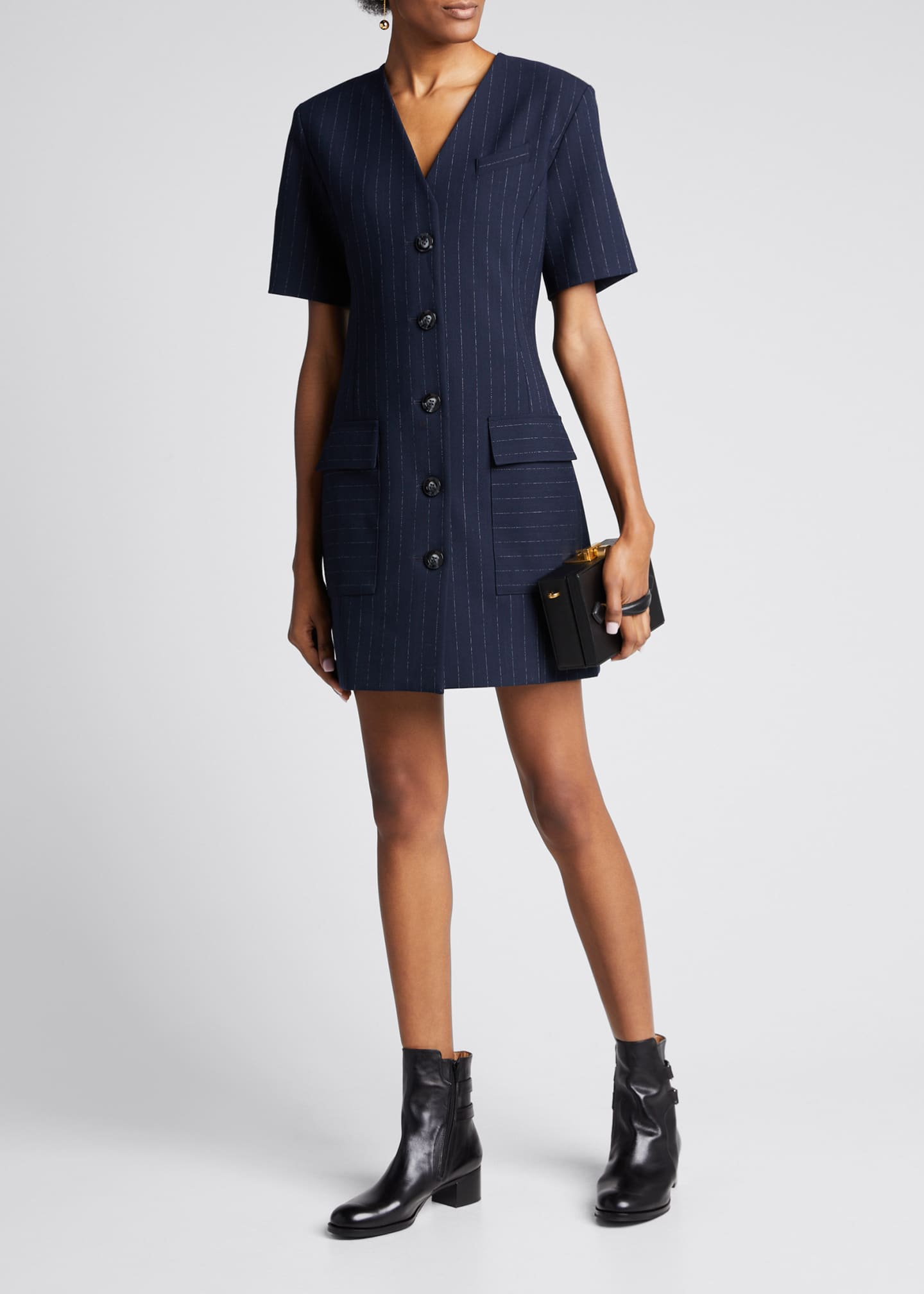 Anna Quan Portia Pinstripe Short-Sleeve Button-Front Dress