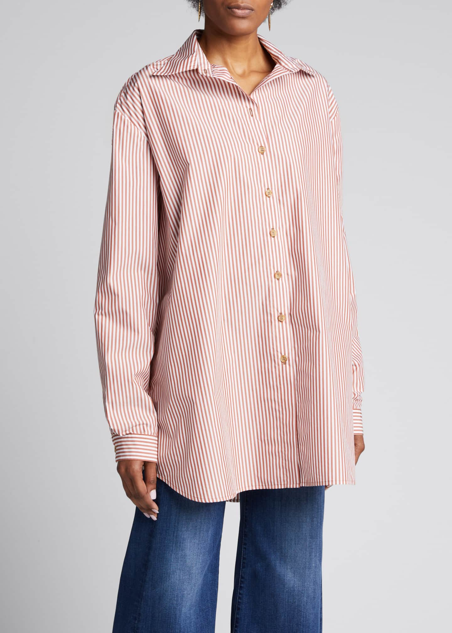 Image 3 of 5: Alfie Oversized Striped Button-Down Shirt
