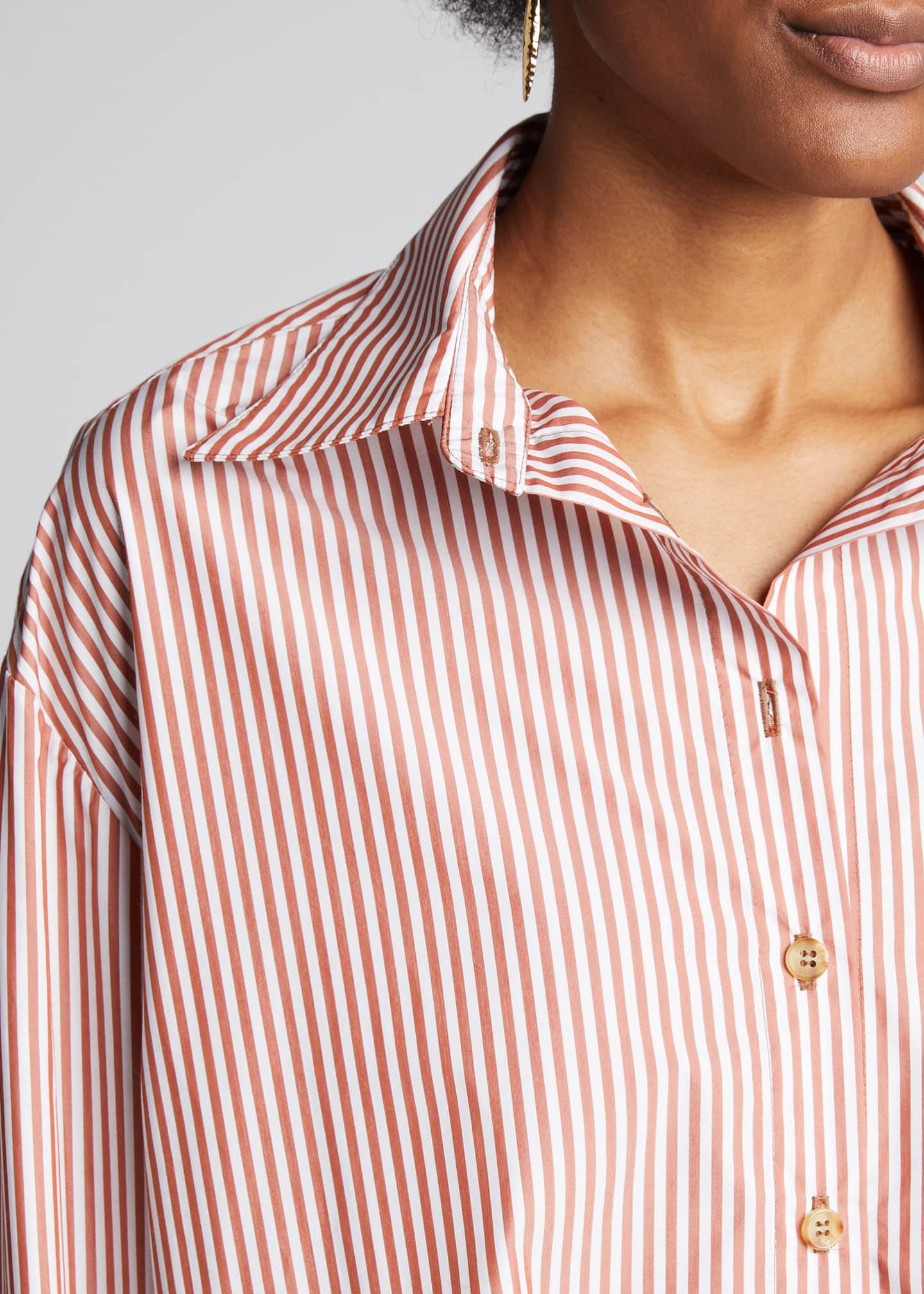 Image 4 of 5: Alfie Oversized Striped Button-Down Shirt