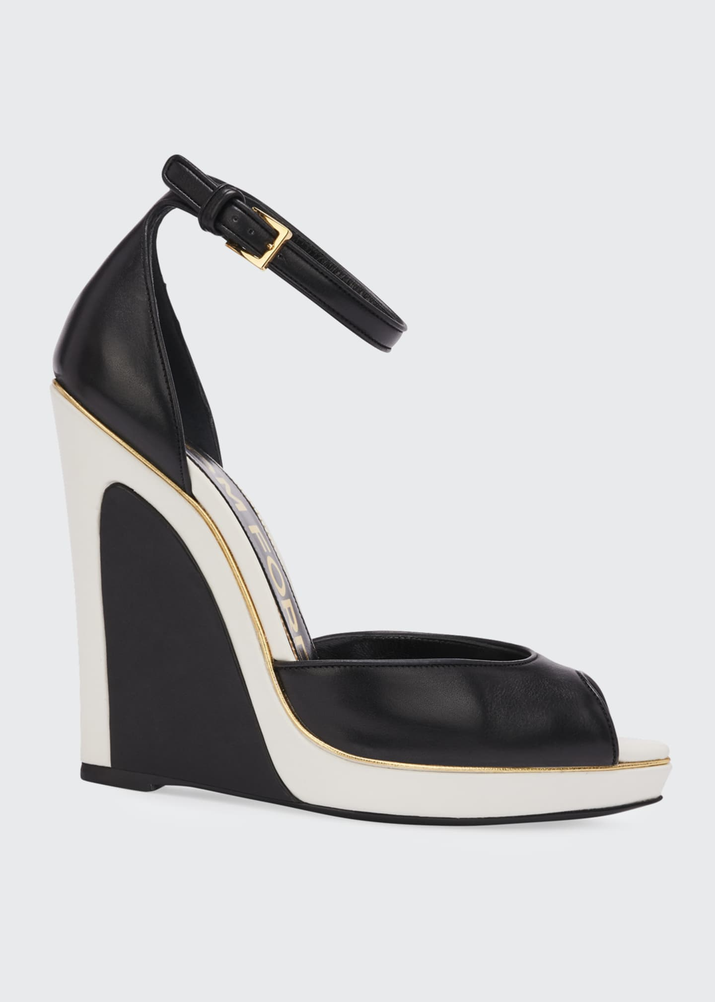 Image 1 of 4: Trompe L'oeil Wedge Sandals