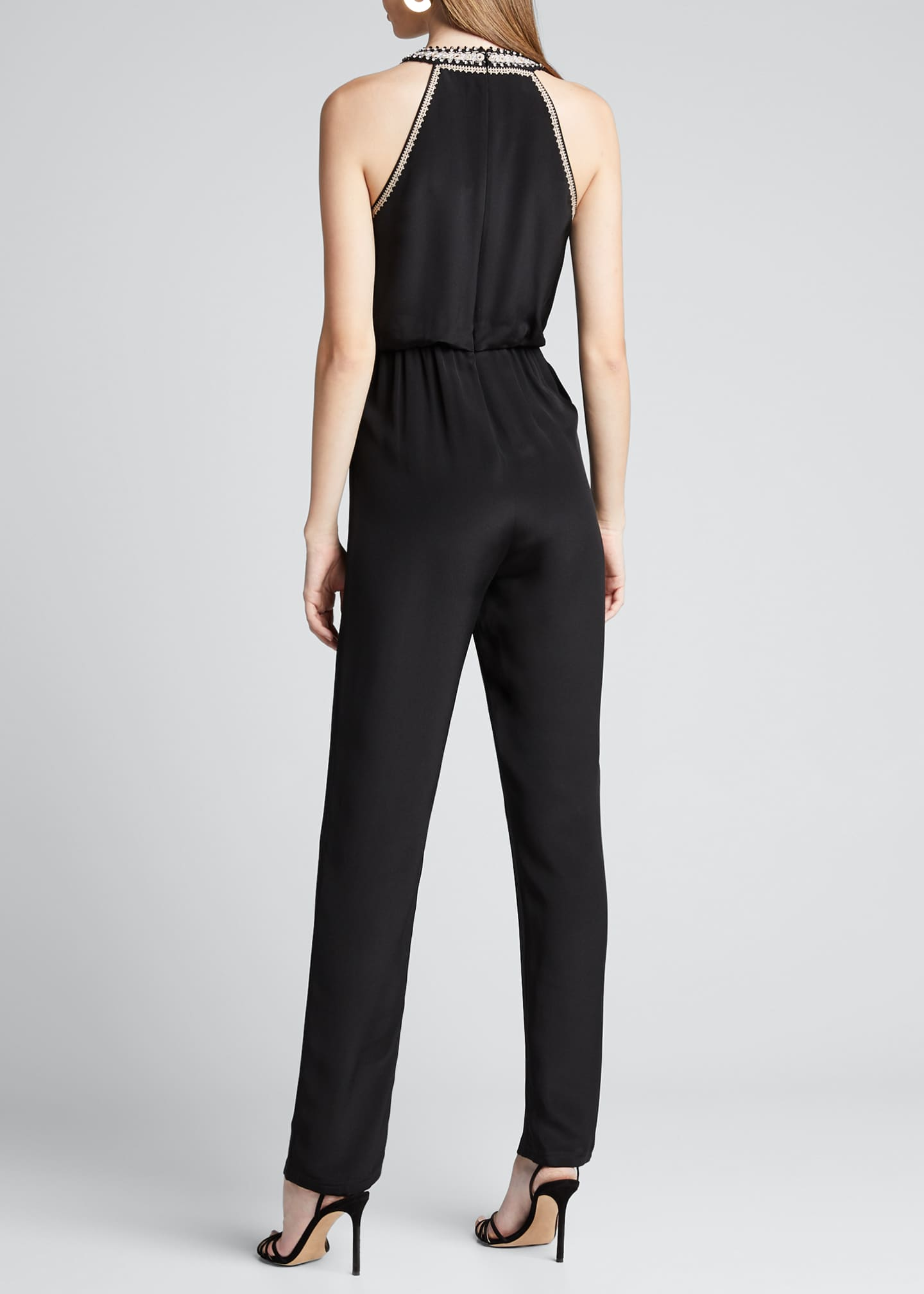 Image 2 of 5: Amata Silk Halter Jumpsuit