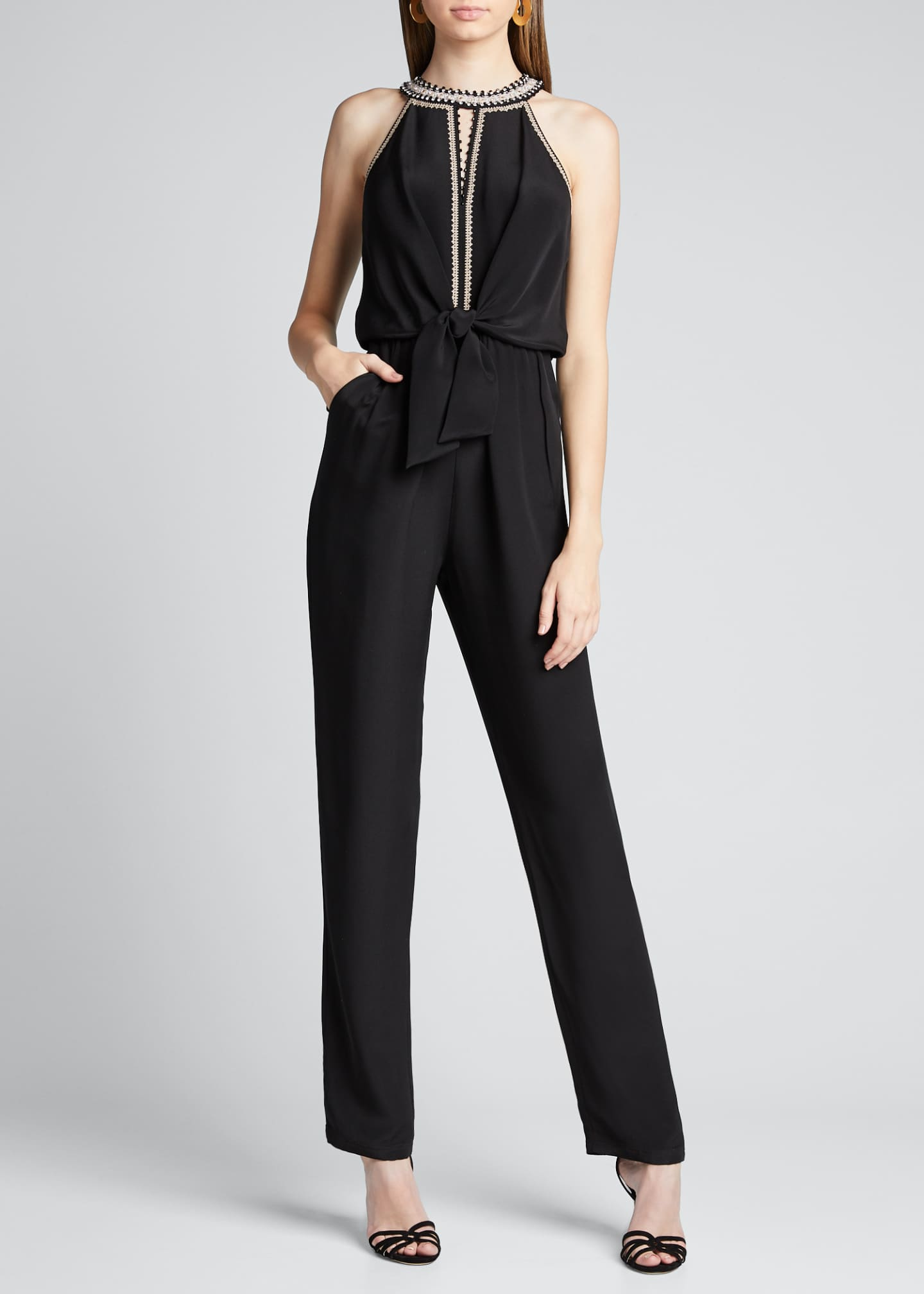 Image 3 of 5: Amata Silk Halter Jumpsuit