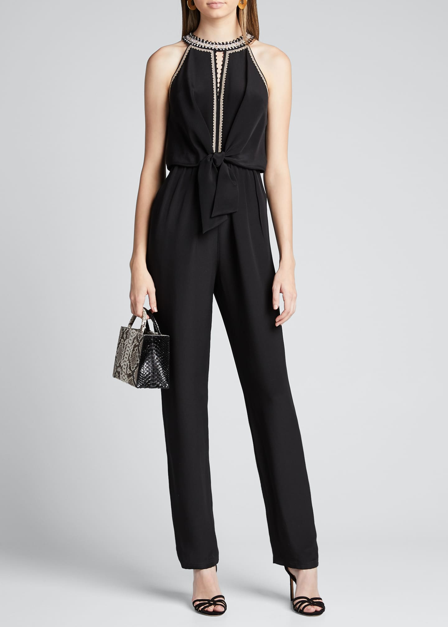 Image 1 of 5: Amata Silk Halter Jumpsuit
