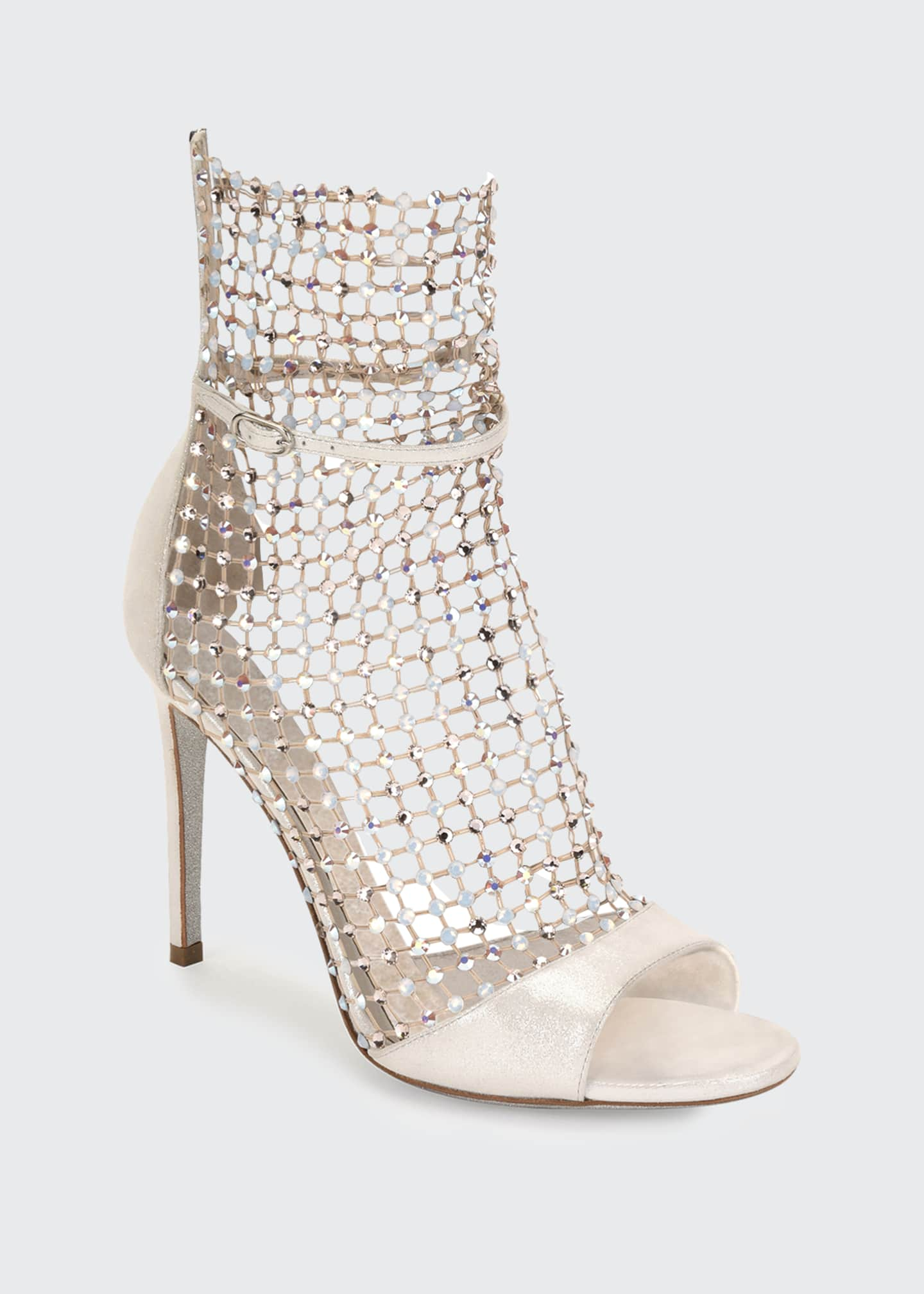 Image 2 of 4: Galaxia Mesh and Metallic Net Sandal-Illusion Booties