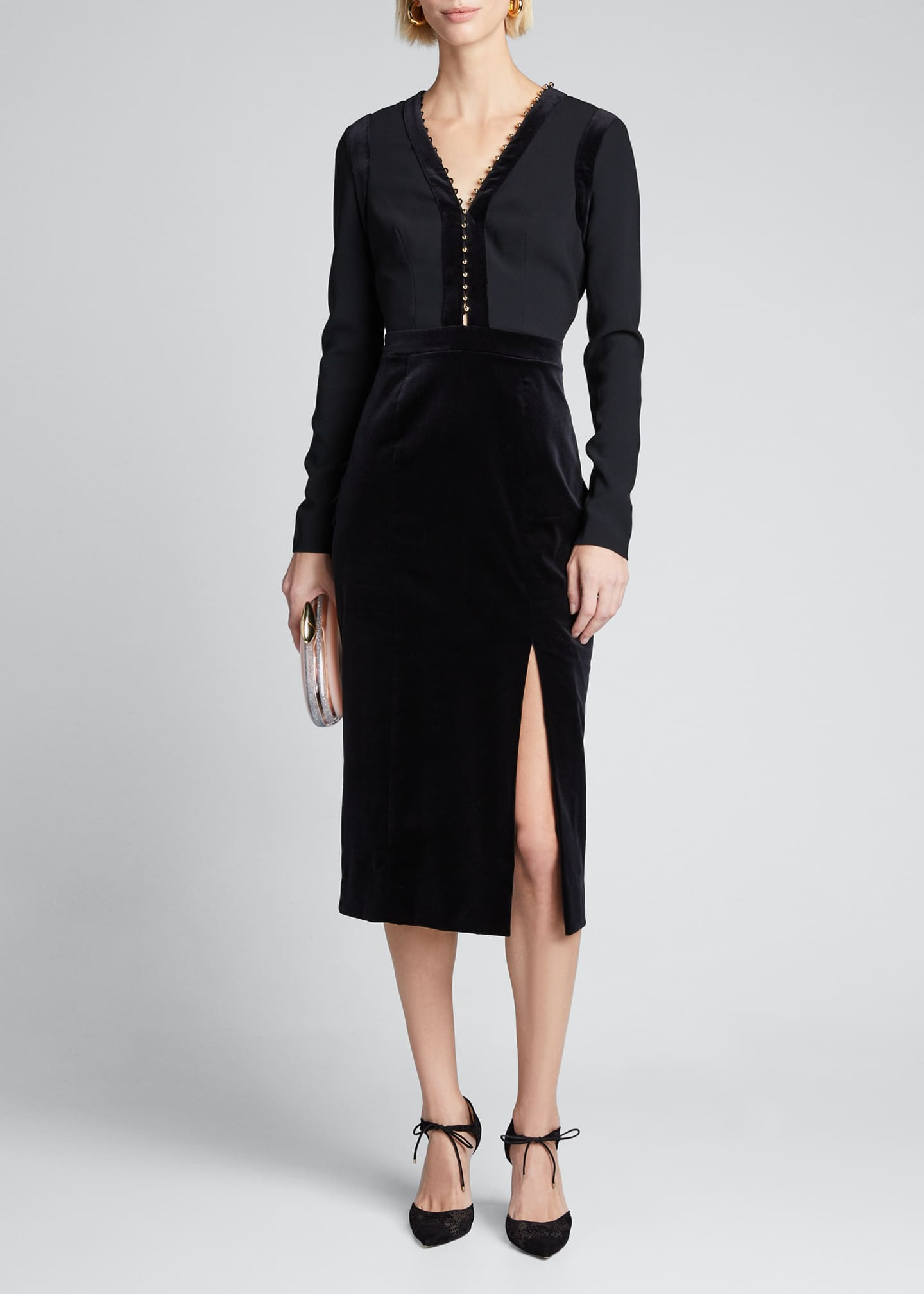 Altuzarra Long-Sleeve Velvet-Trim Dress