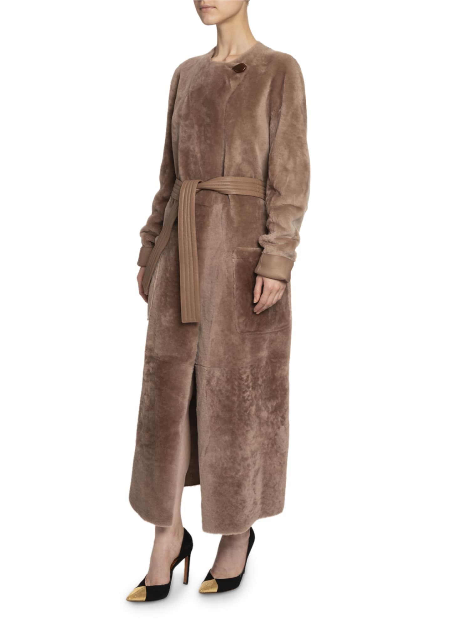 Altuzarra Lamb Fur Tie-Waist Coat