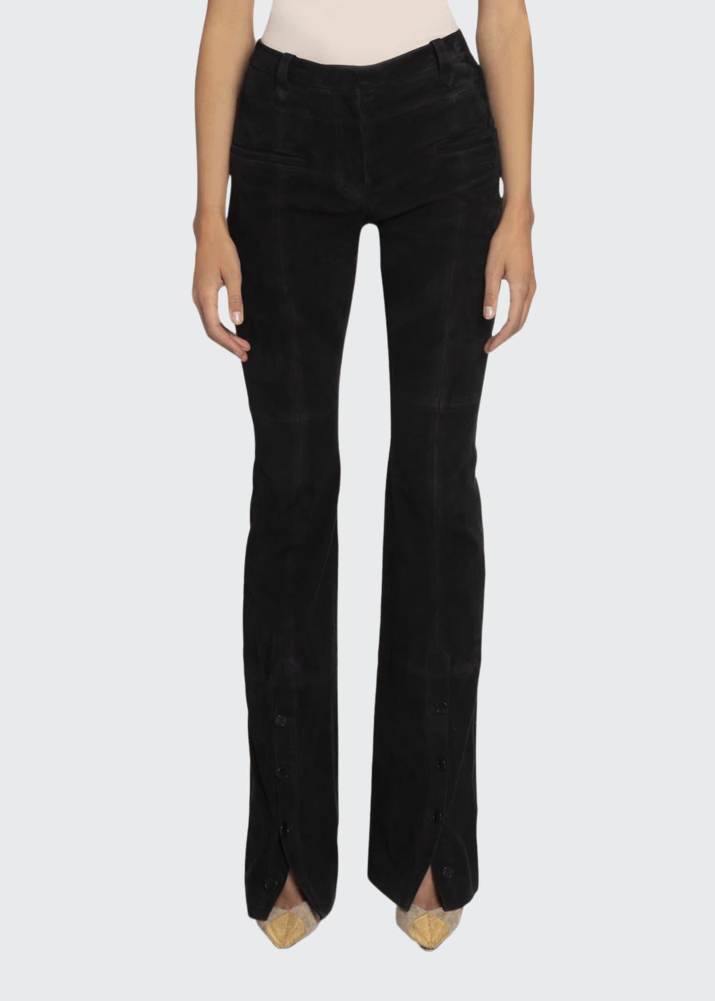 Altuzarra High-Rise Flare-Leg Suede Pants