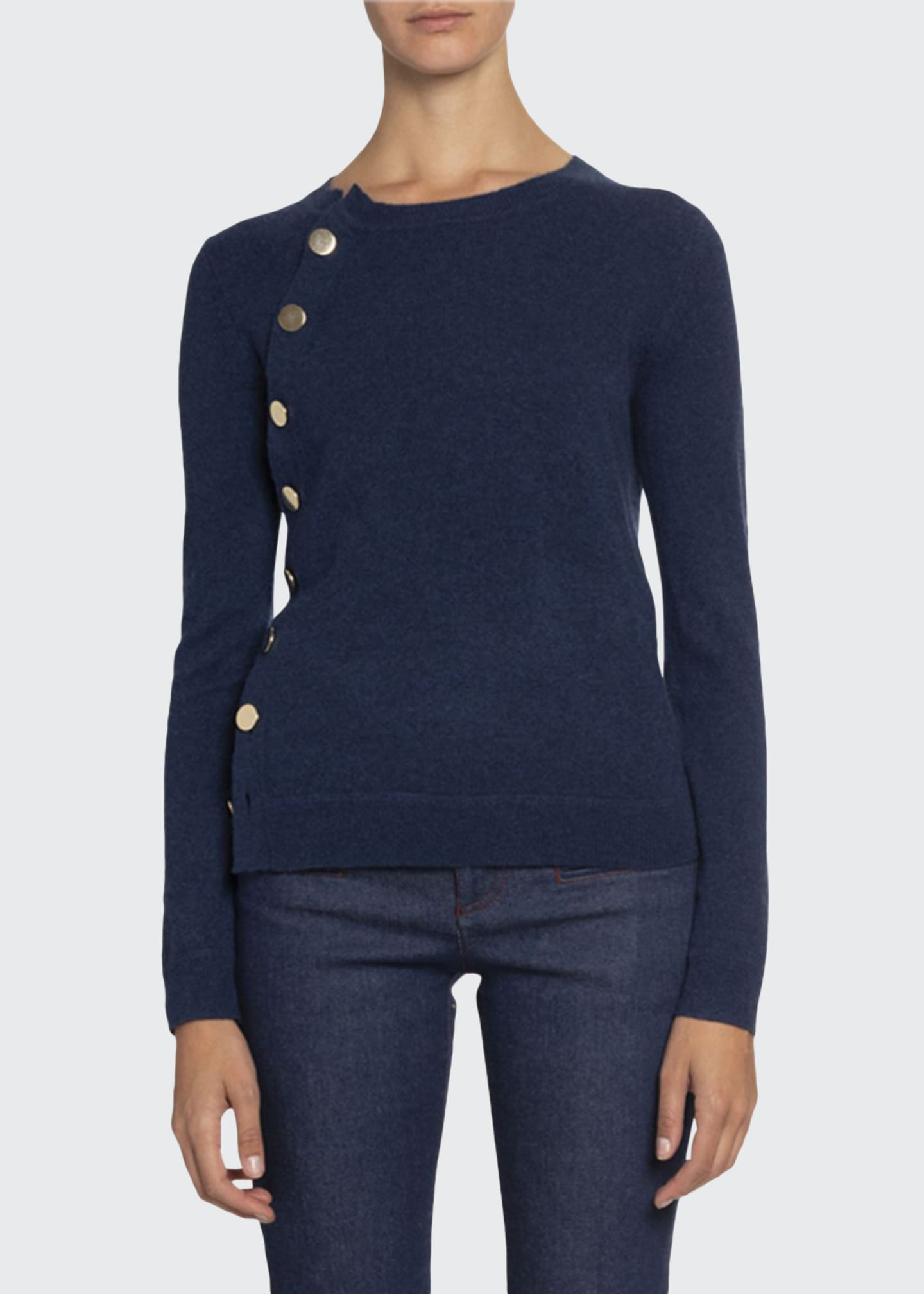 Altuzarra Cashmere Crewneck Button-Front Sweater