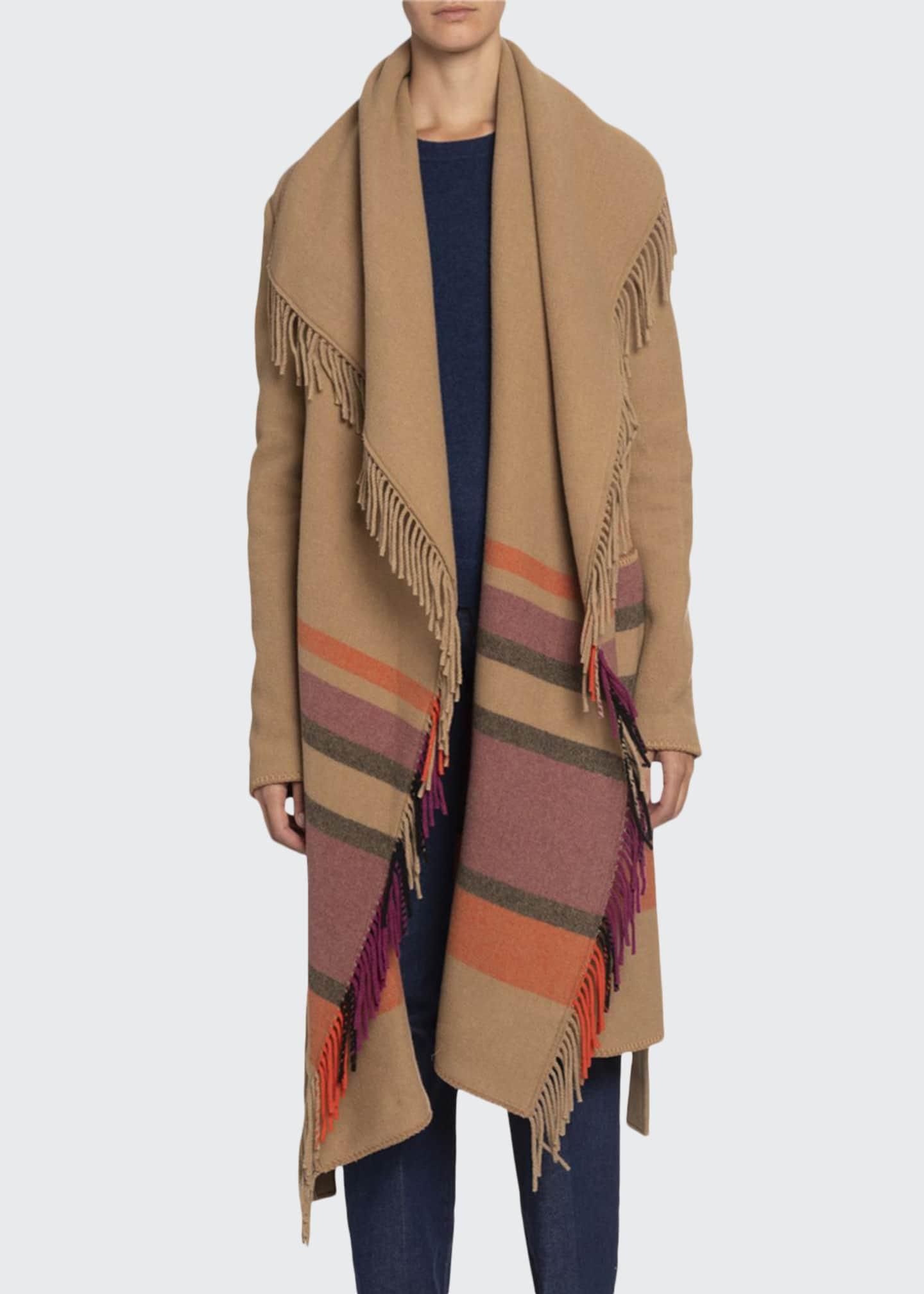 Altuzarra Striped Fringed-Wool Shawl